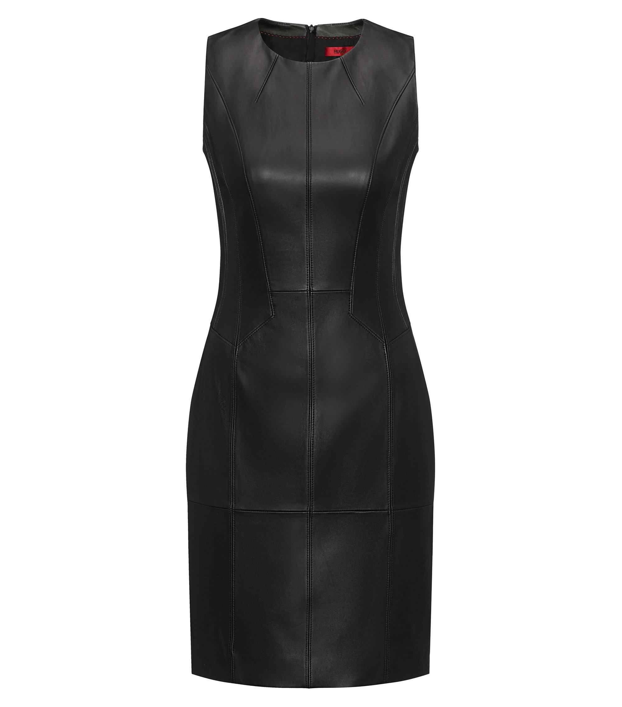 Kleid aus Nappaleder mit gesmokten Details, Schwarz