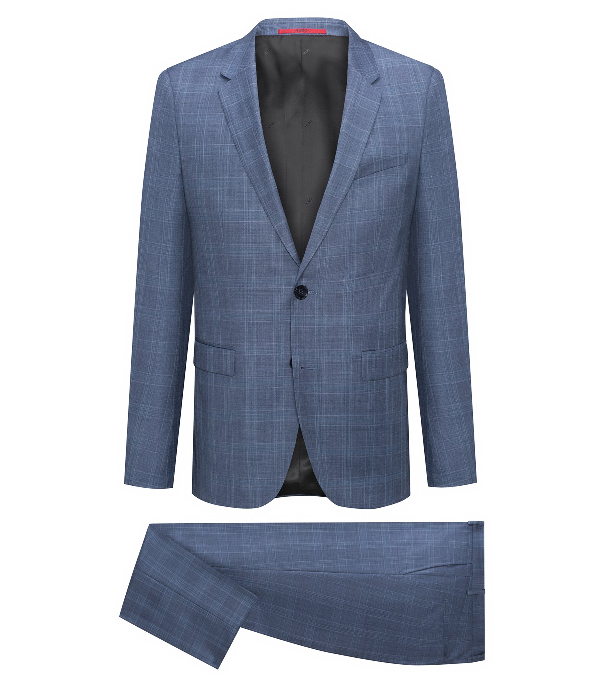 Extra-slim-fit suit in checked virgin wool, Turquoise