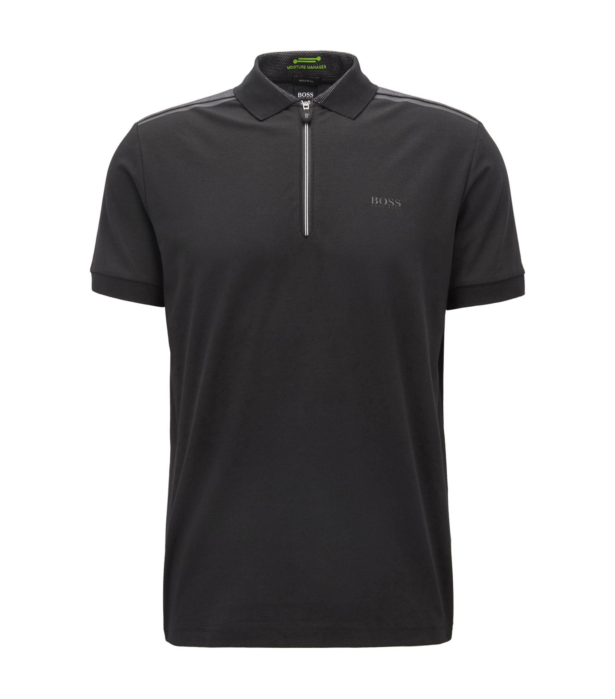 Zip-neck polo shirt in stretch jersey, Black