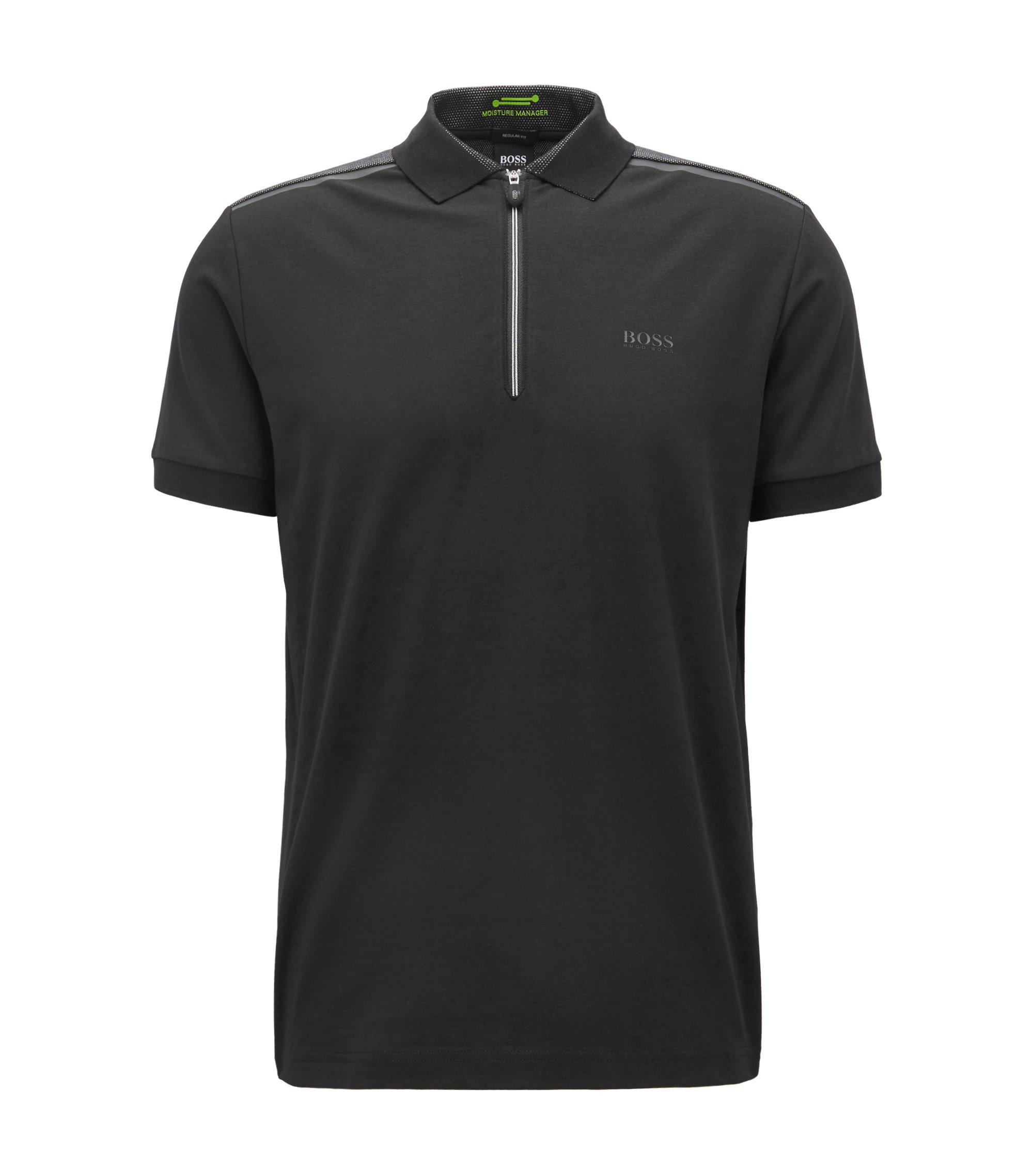 Poloshirt aus Stretch-Jersey mit Reißverschluss, Schwarz