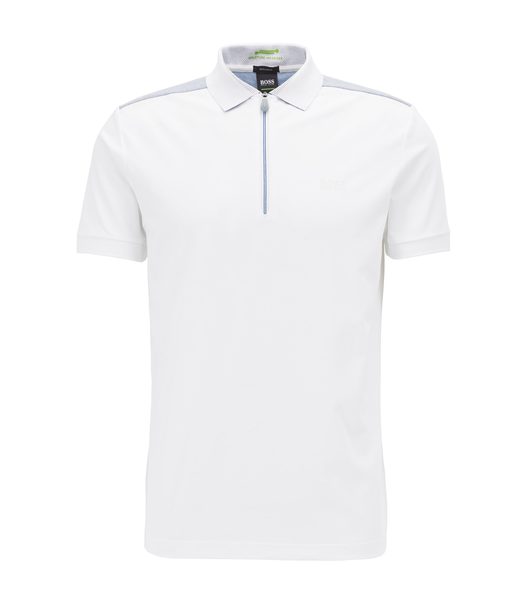 Zip-neck polo shirt in stretch jersey, White