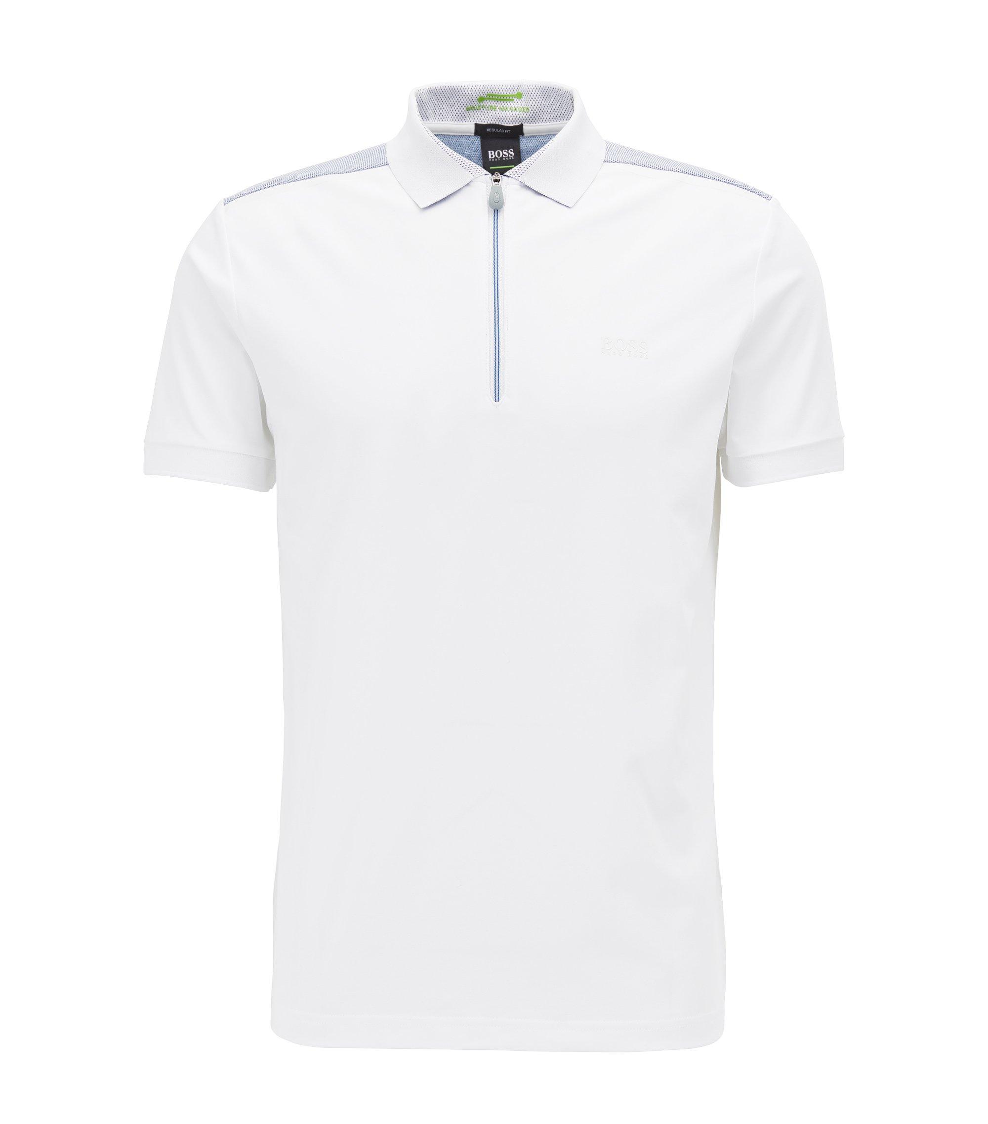 Polo à col zippé en jersey stretch, Blanc