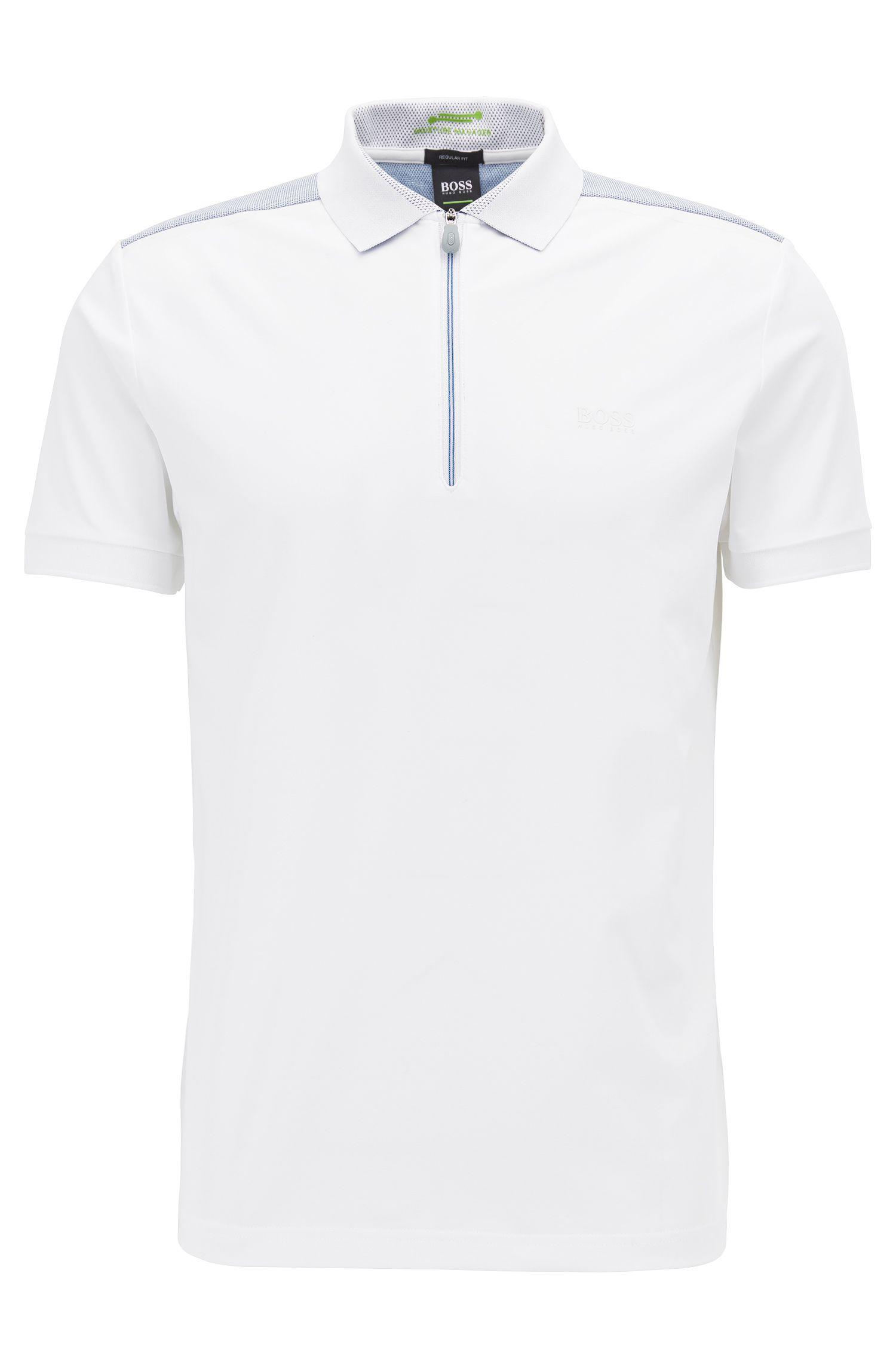 Poloshirt aus Stretch-Jersey mit Reißverschluss