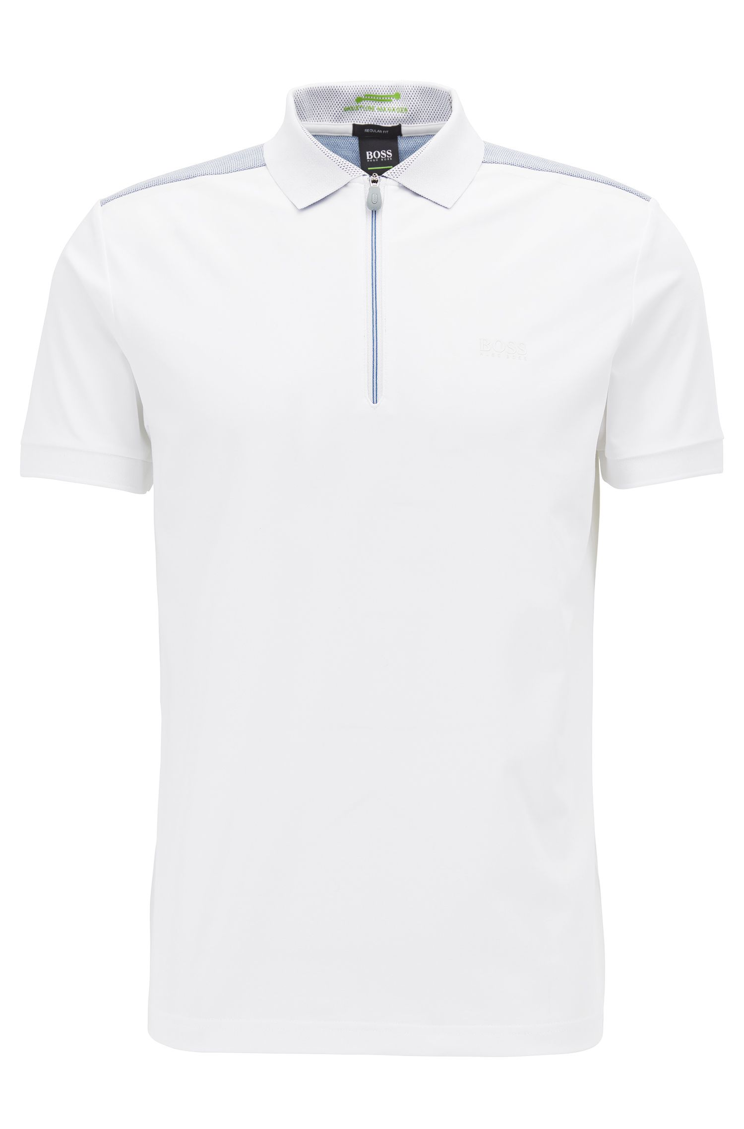 Zip-neck polo shirt in stretch jersey