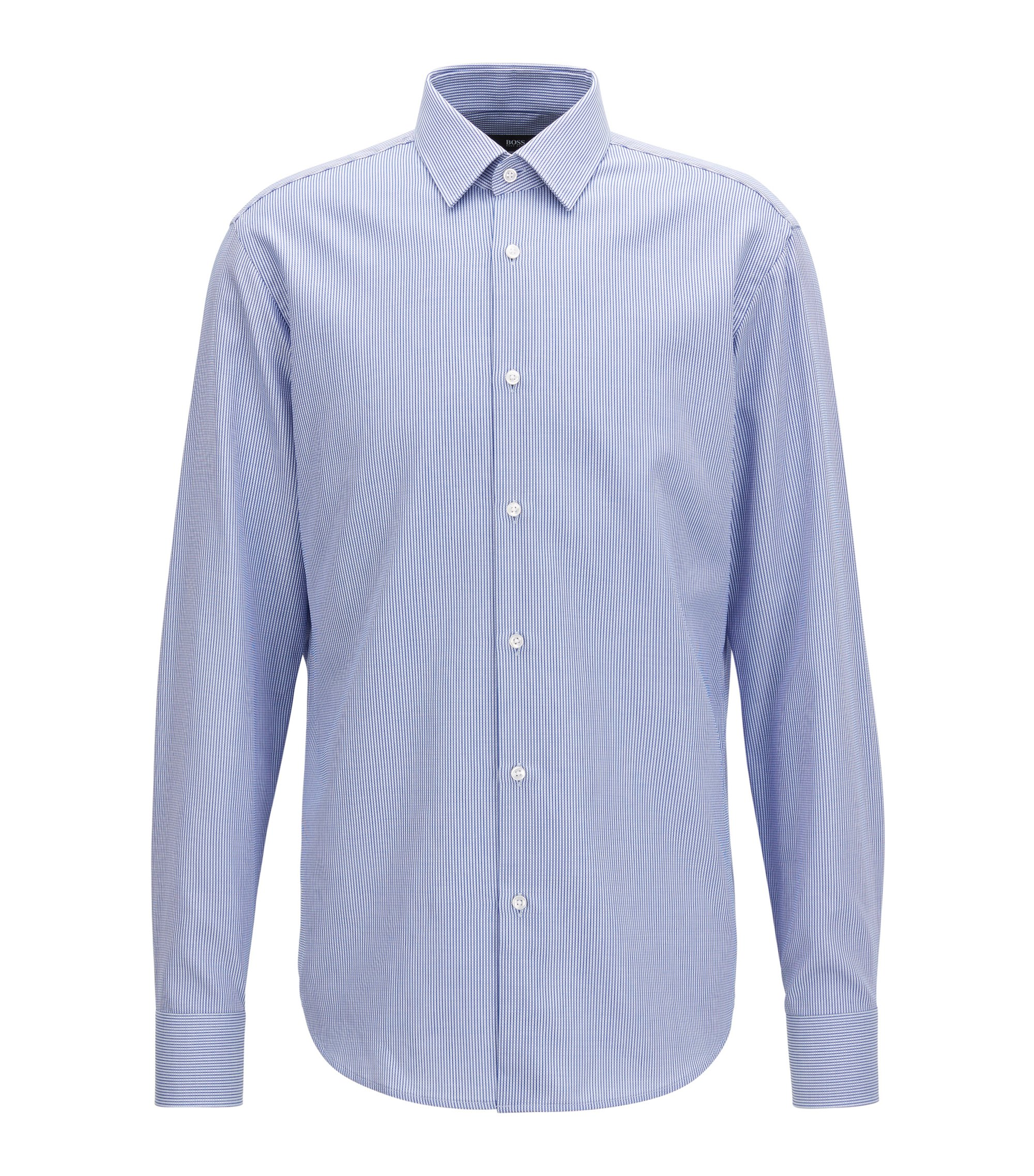 Regular-fit cotton shirt in knitted-look piqué , Blue