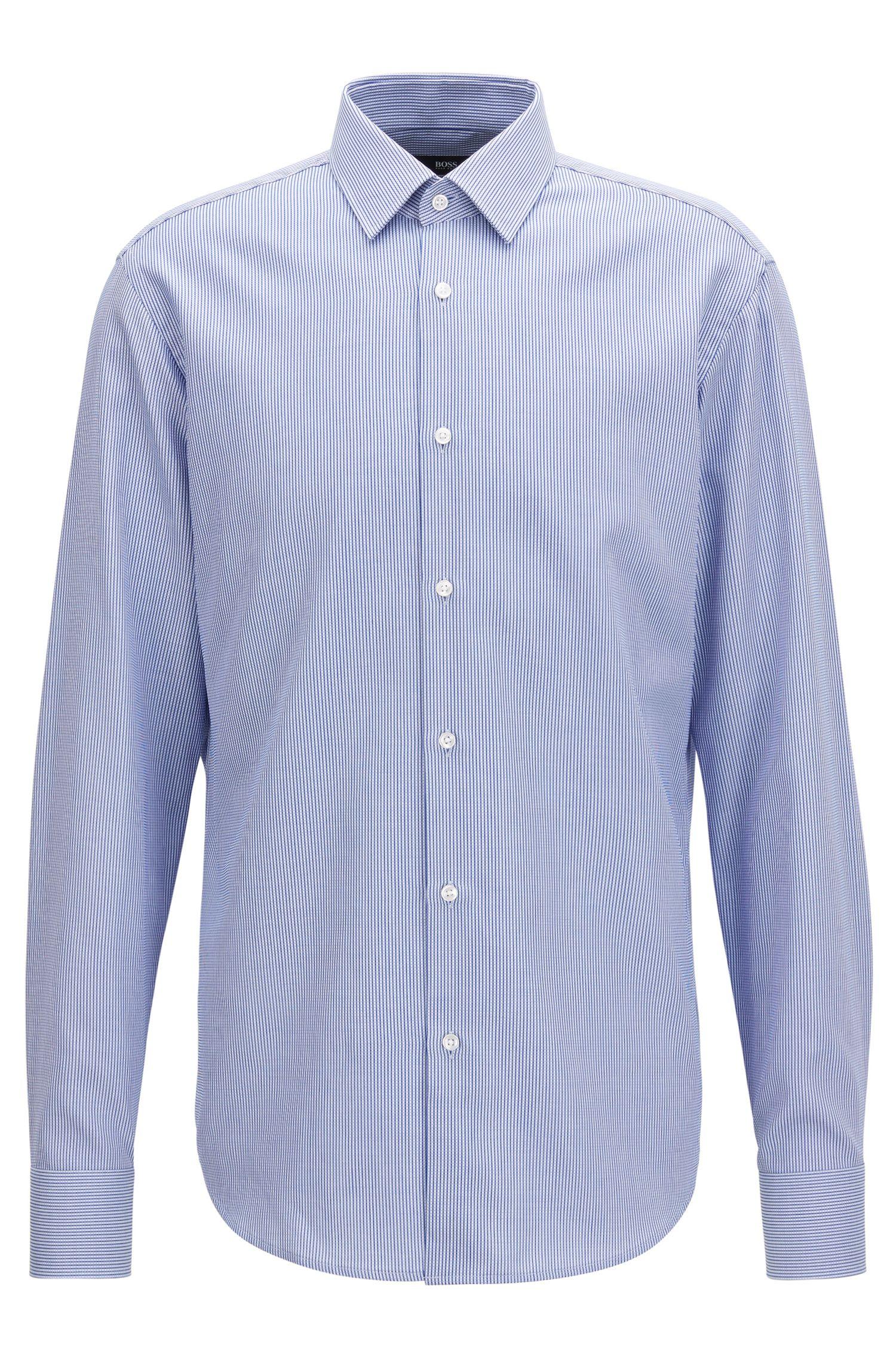 Camisa regular fit de algodón en piqué con aspecto de punto