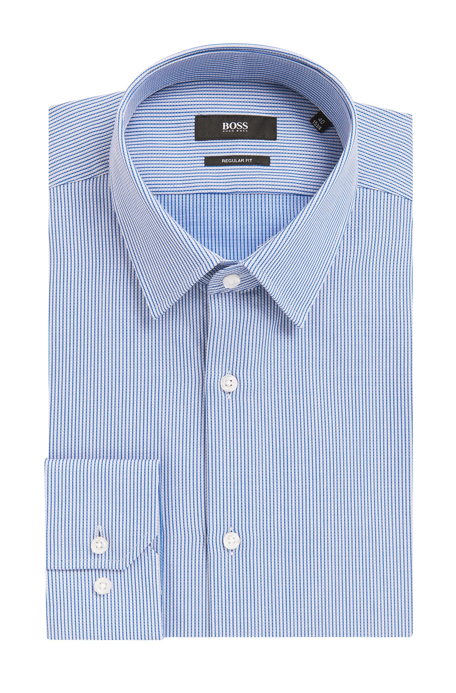 Regular-fit cotton shirt in knitted-look piqué