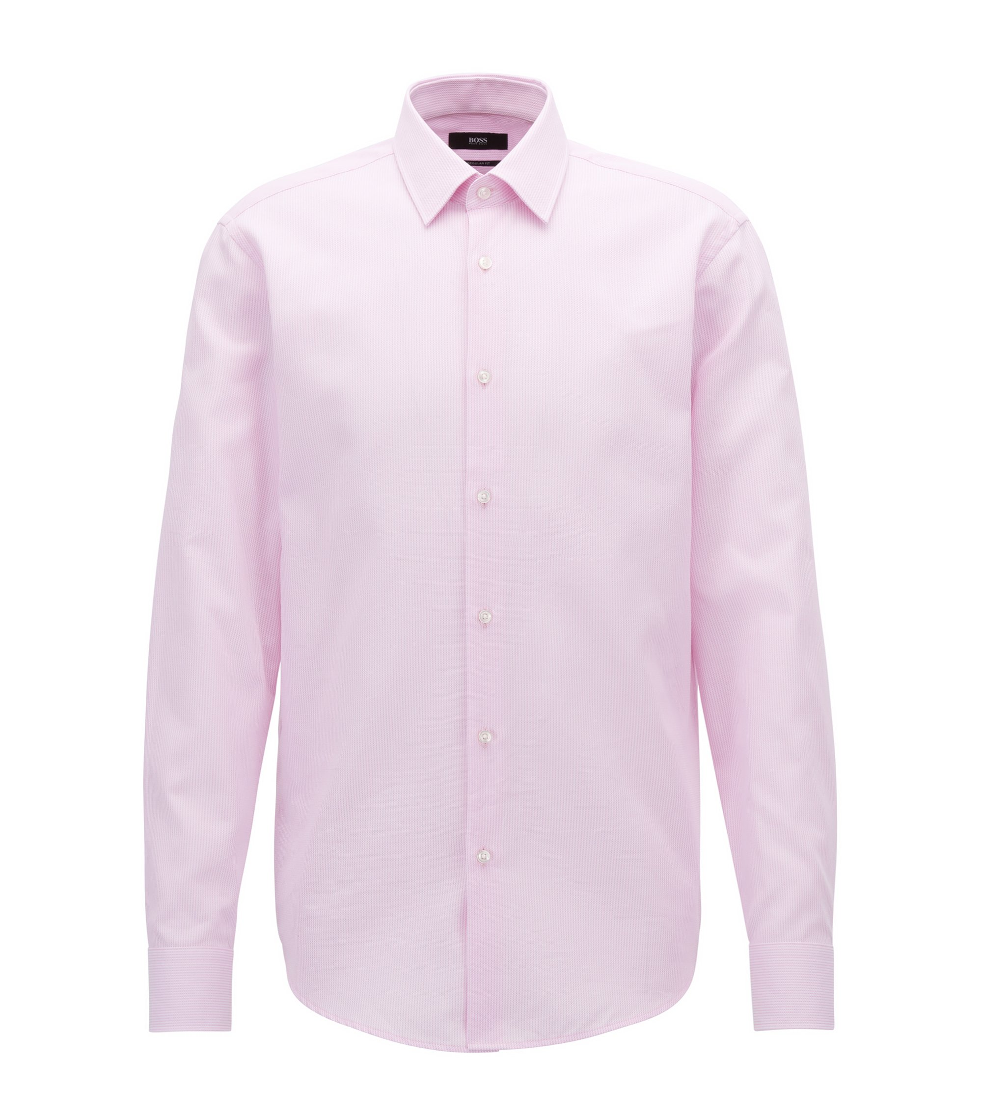 Regular-fit cotton shirt in knitted-look piqué , light pink