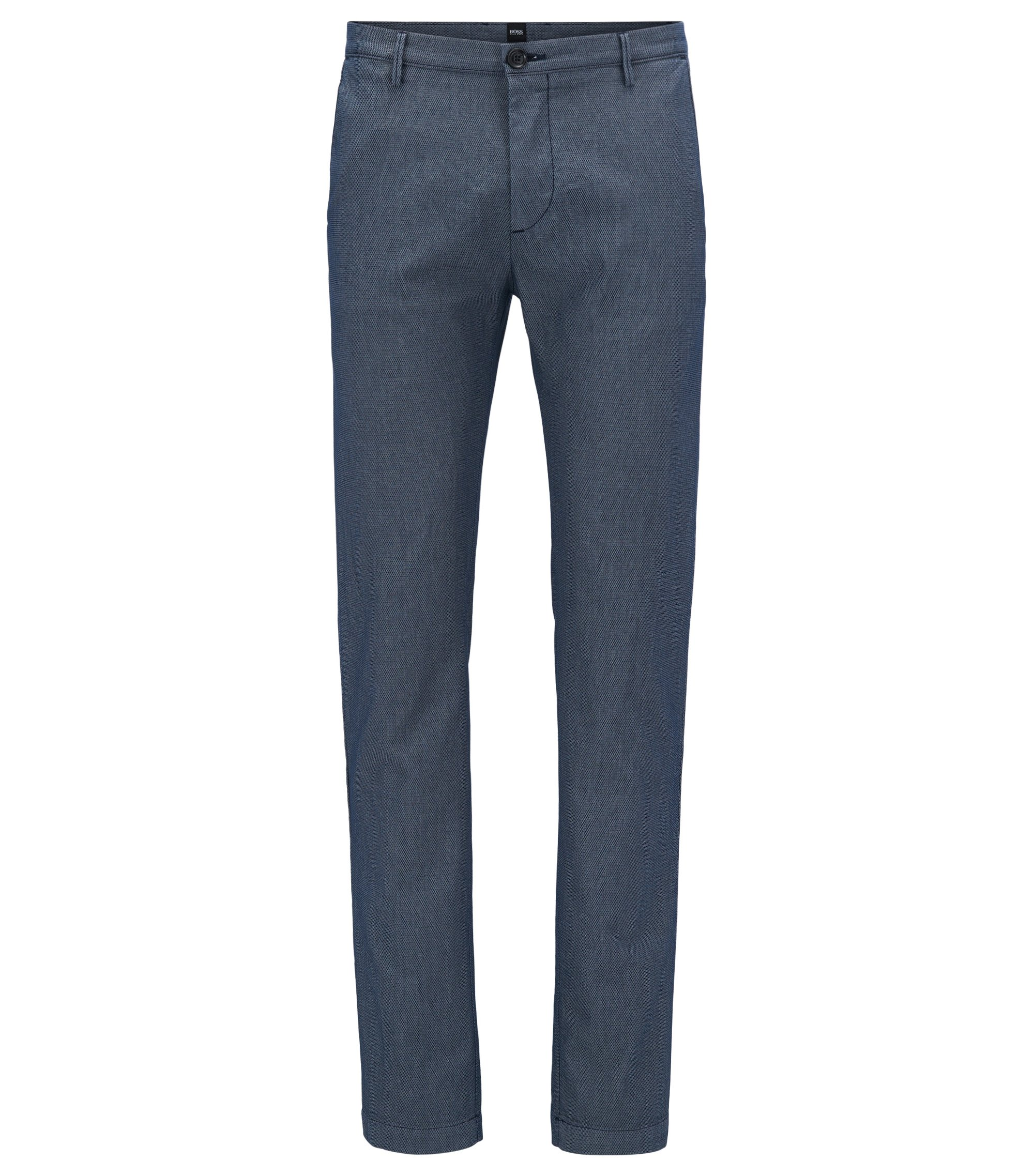 Slim-fit chinos in a textured stretch-cotton blend, Dark Blue
