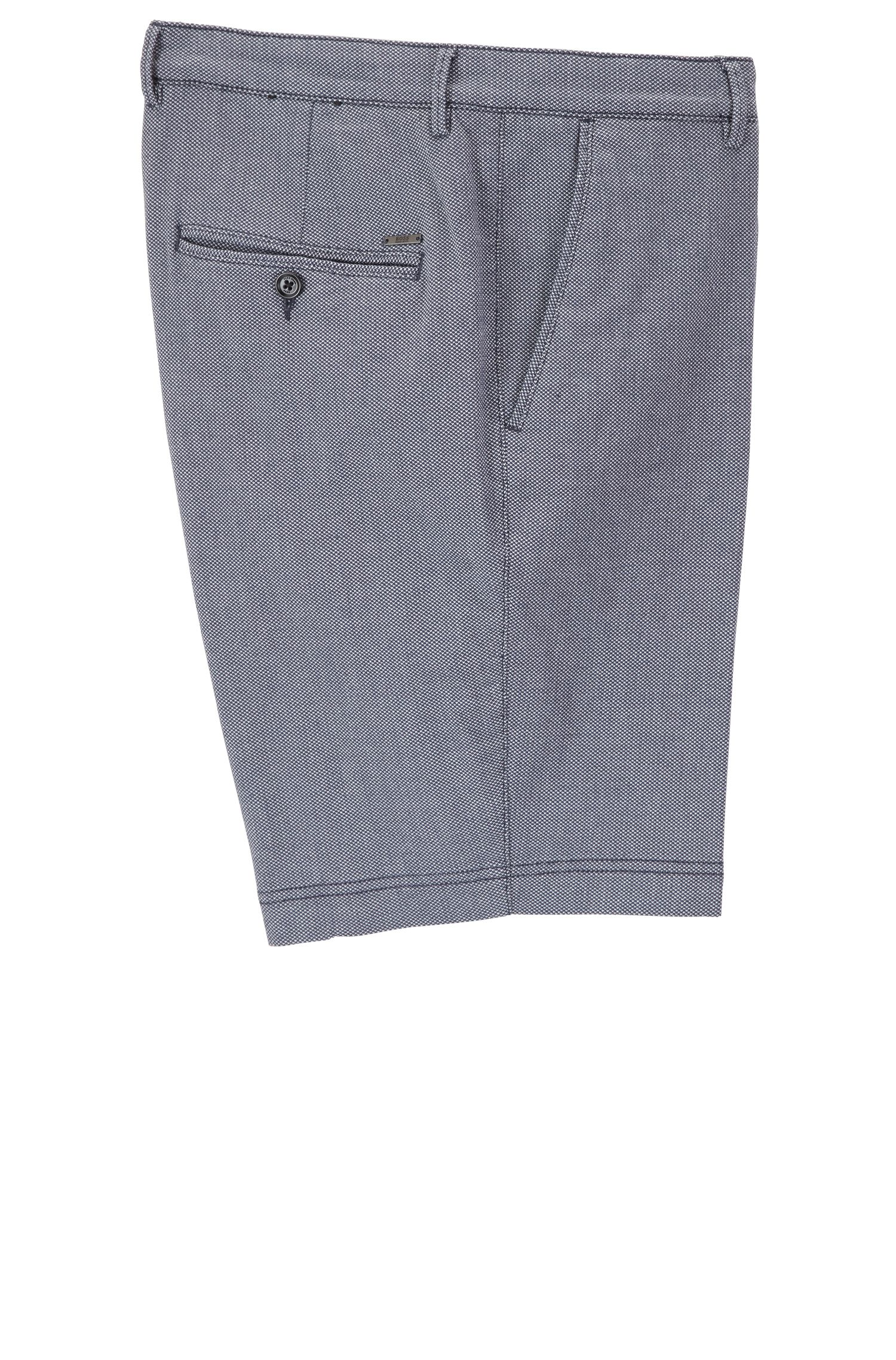 Regular-fit micro-patterned shorts in stretch cotton