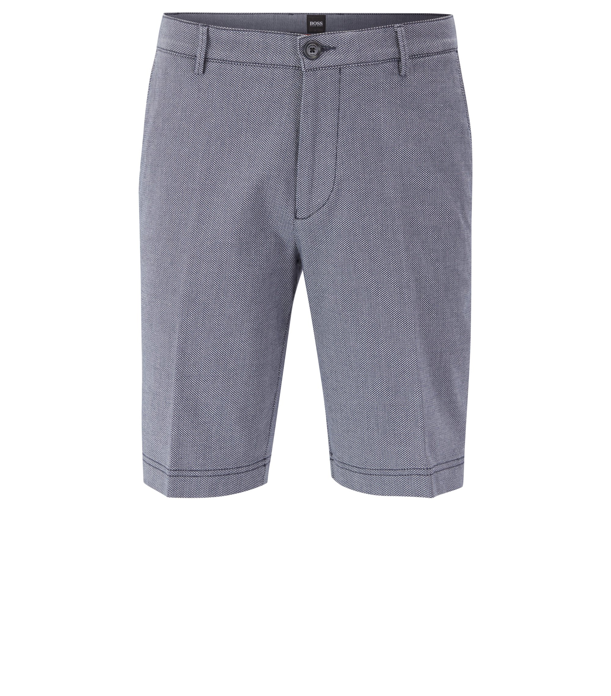 Regular-Fit Shorts aus Stretch-Baumwolle mit dezentem Muster, Dunkelblau