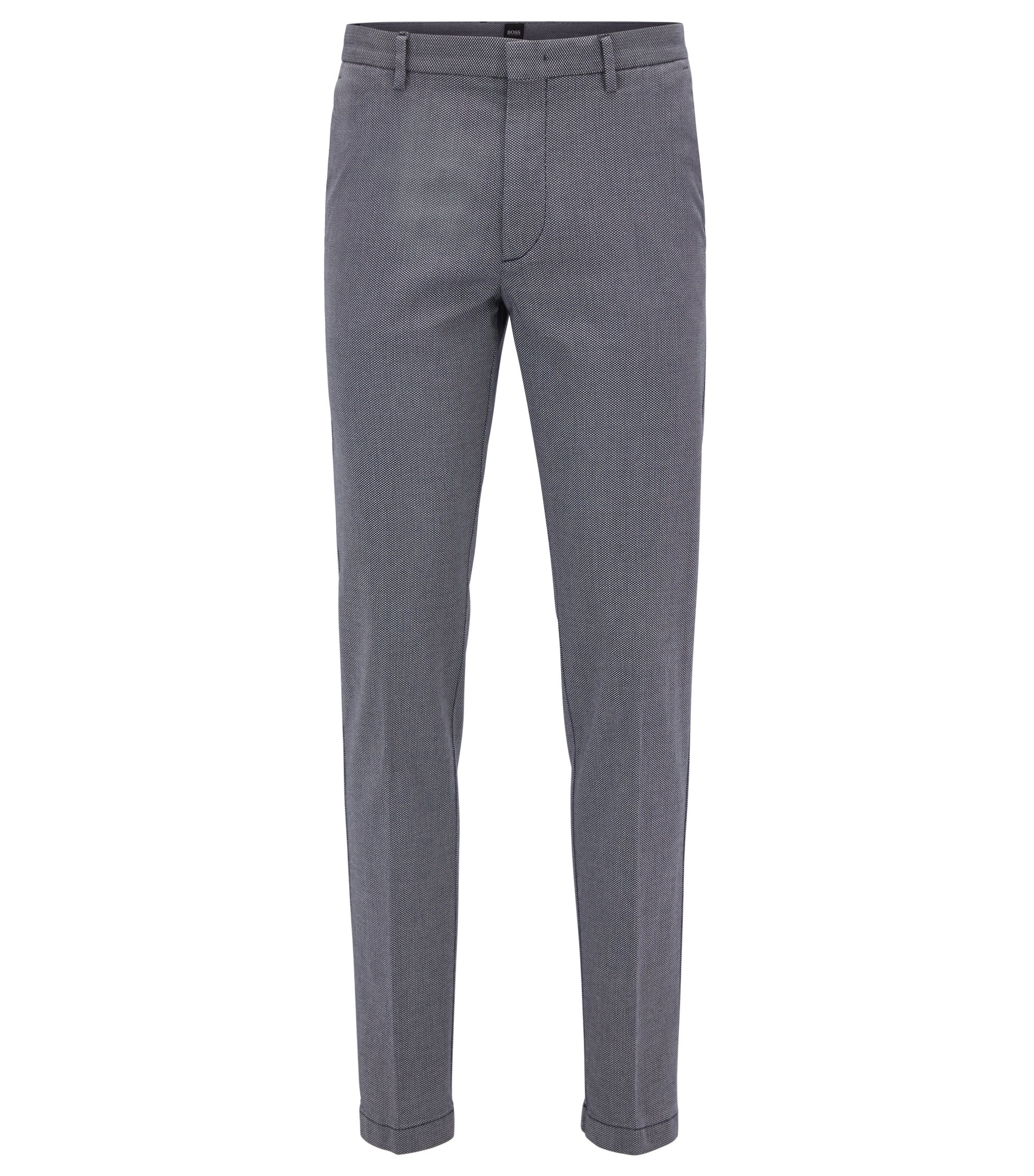 Slim-fit chinos in micro-pattern stretch cotton, Dark Blue