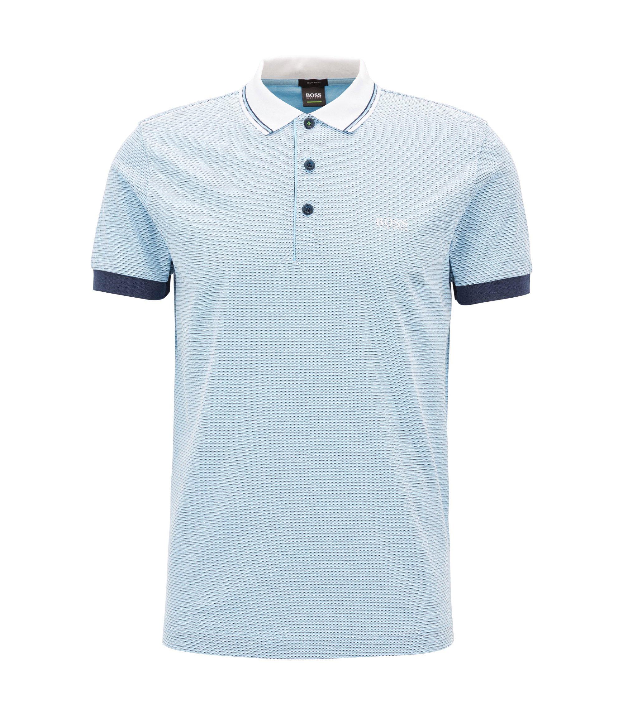 Poloshirt aus Baumwoll-Piqué mit kontrastfarbenen Details, Hellblau