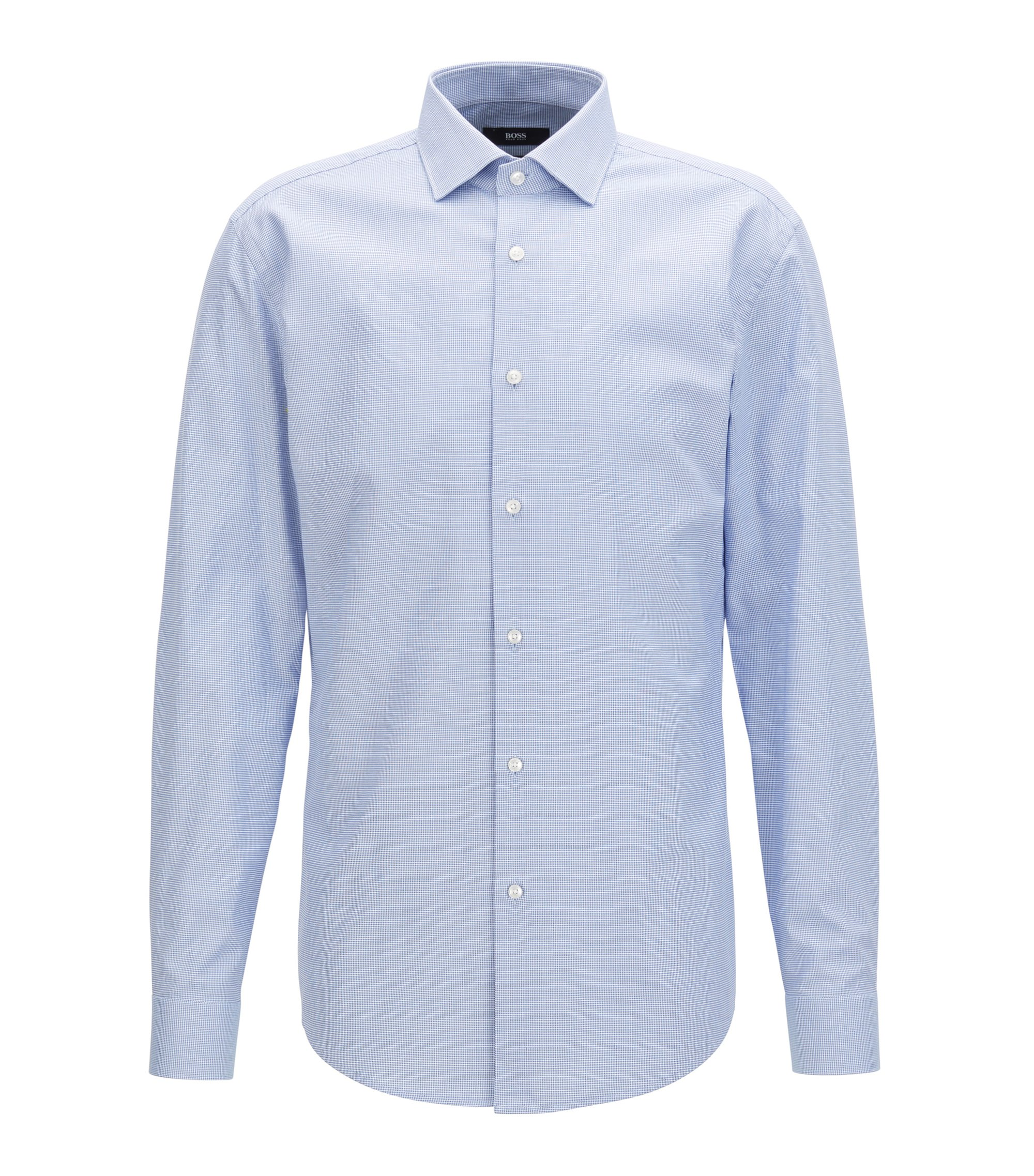 Slim-fit cotton shirt with all-over micro structure, Light Blue
