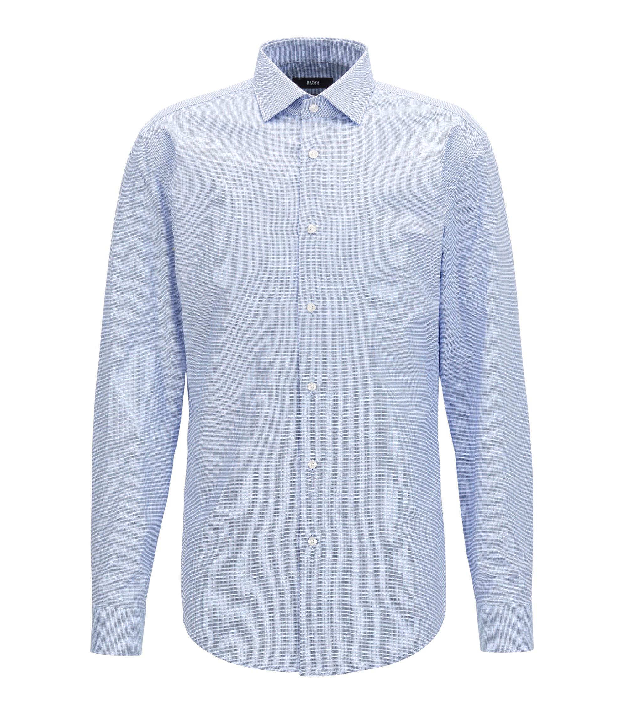 Slim-fit katoenen overhemd met een all-over fijne textuur, Lichtblauw