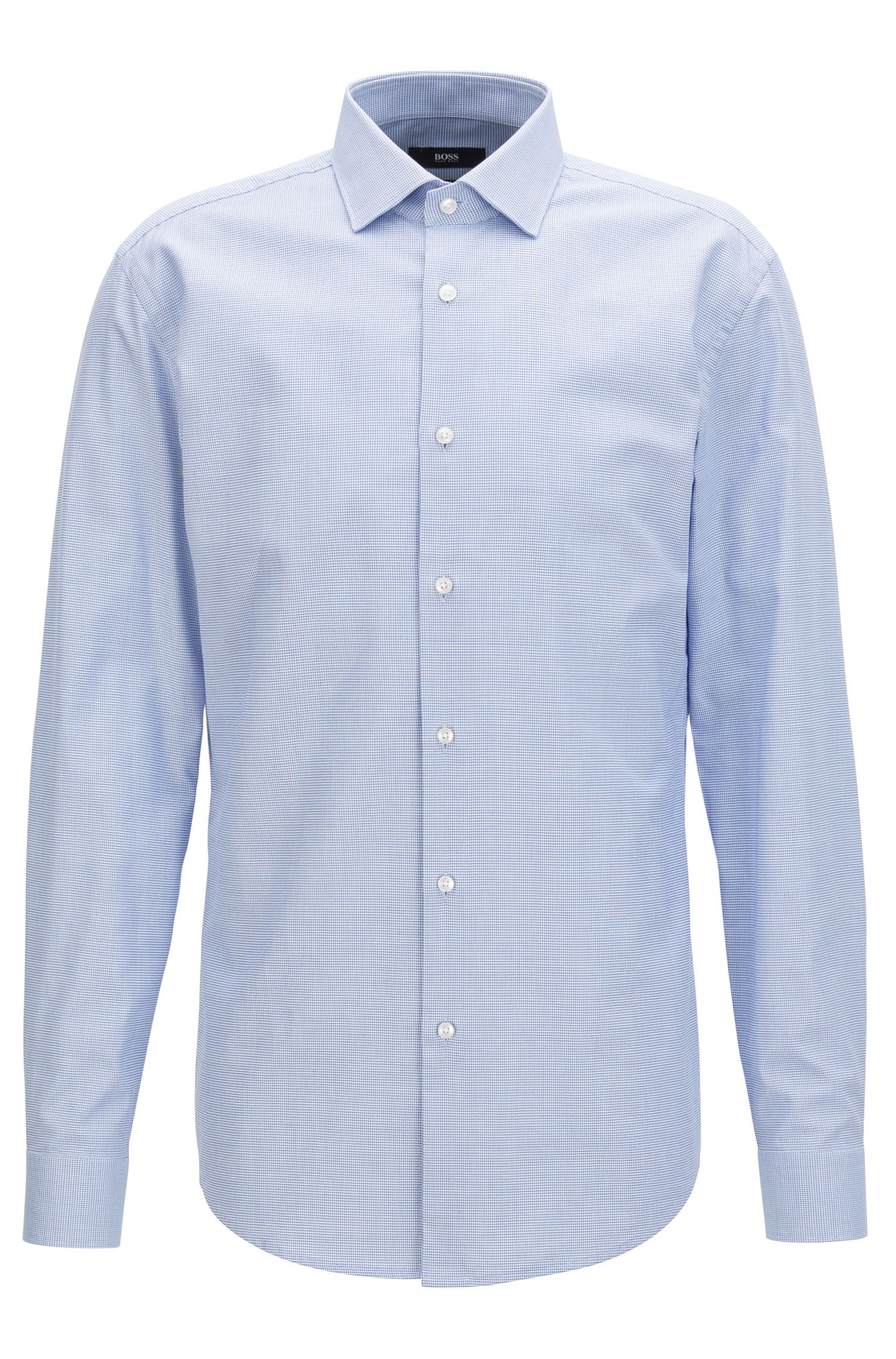 Camicia slim fit in cotone con microlavorazione all-over