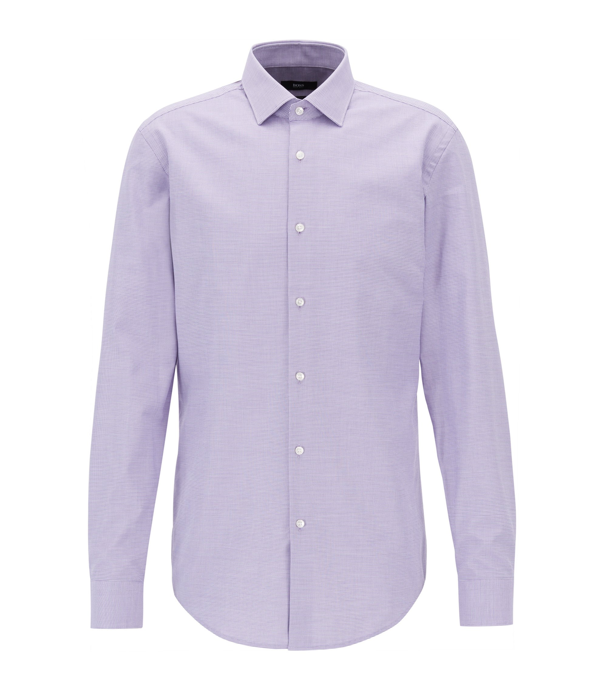 Slim-fit cotton shirt with all-over micro structure, Purple