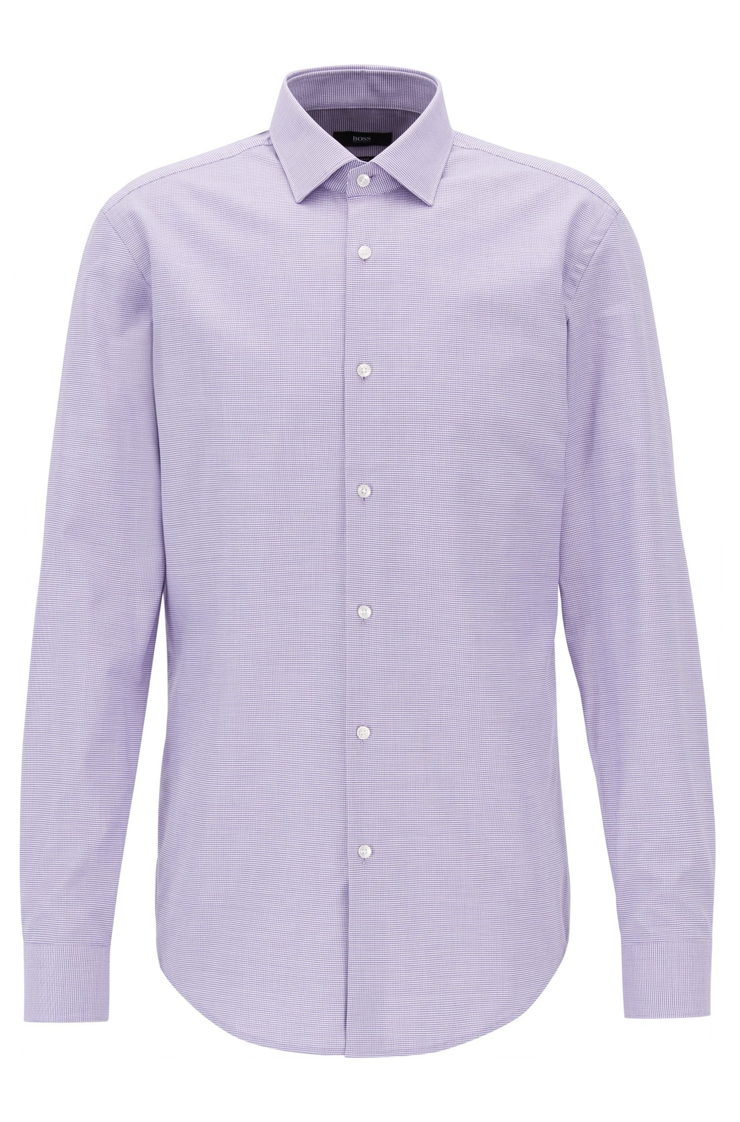 Slim-fit cotton shirt with all-over micro structure