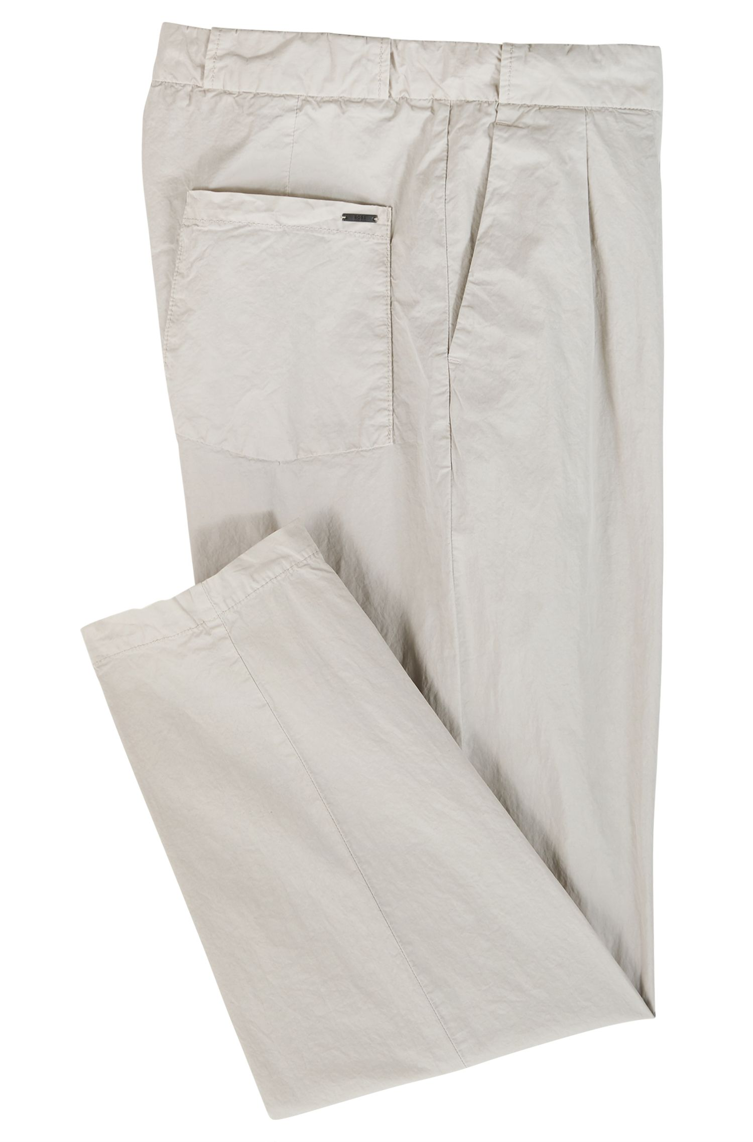 Chino à plis Regular Fit en coton italien stretch