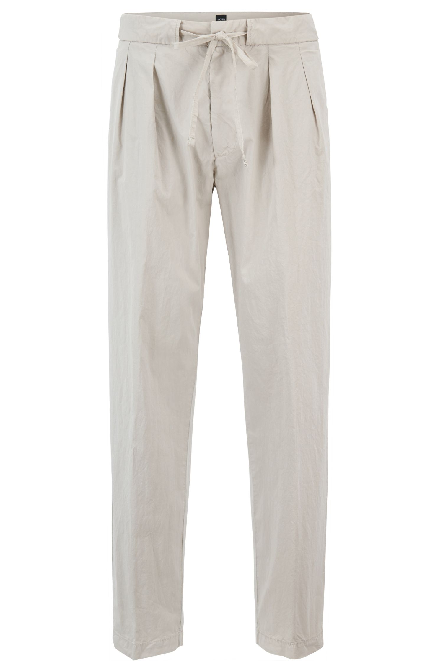 Relaxed-fit pleated chinos in Italian stretch cotton