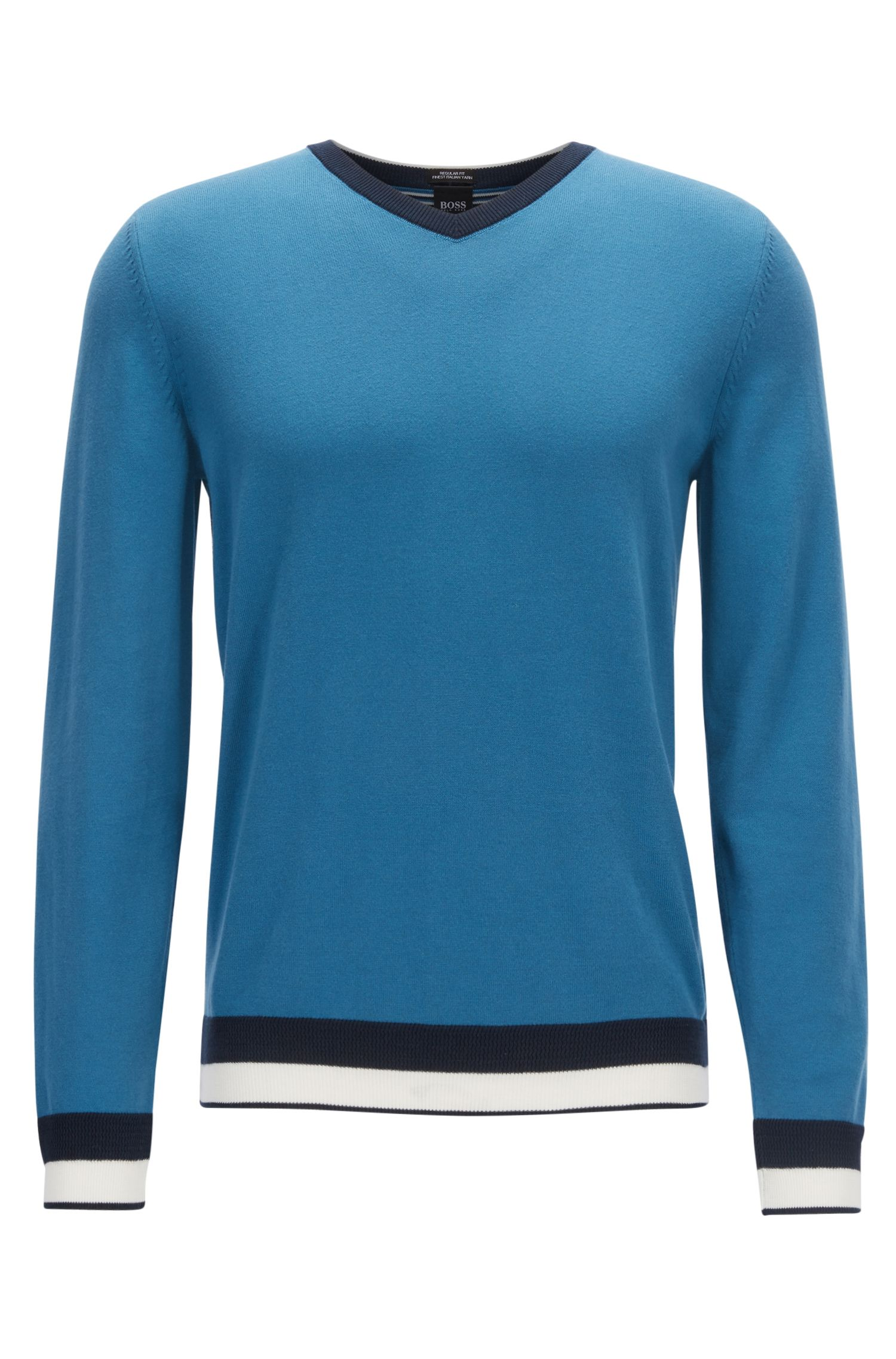 Egyptian cotton sweater with a V neckline, Turquoise