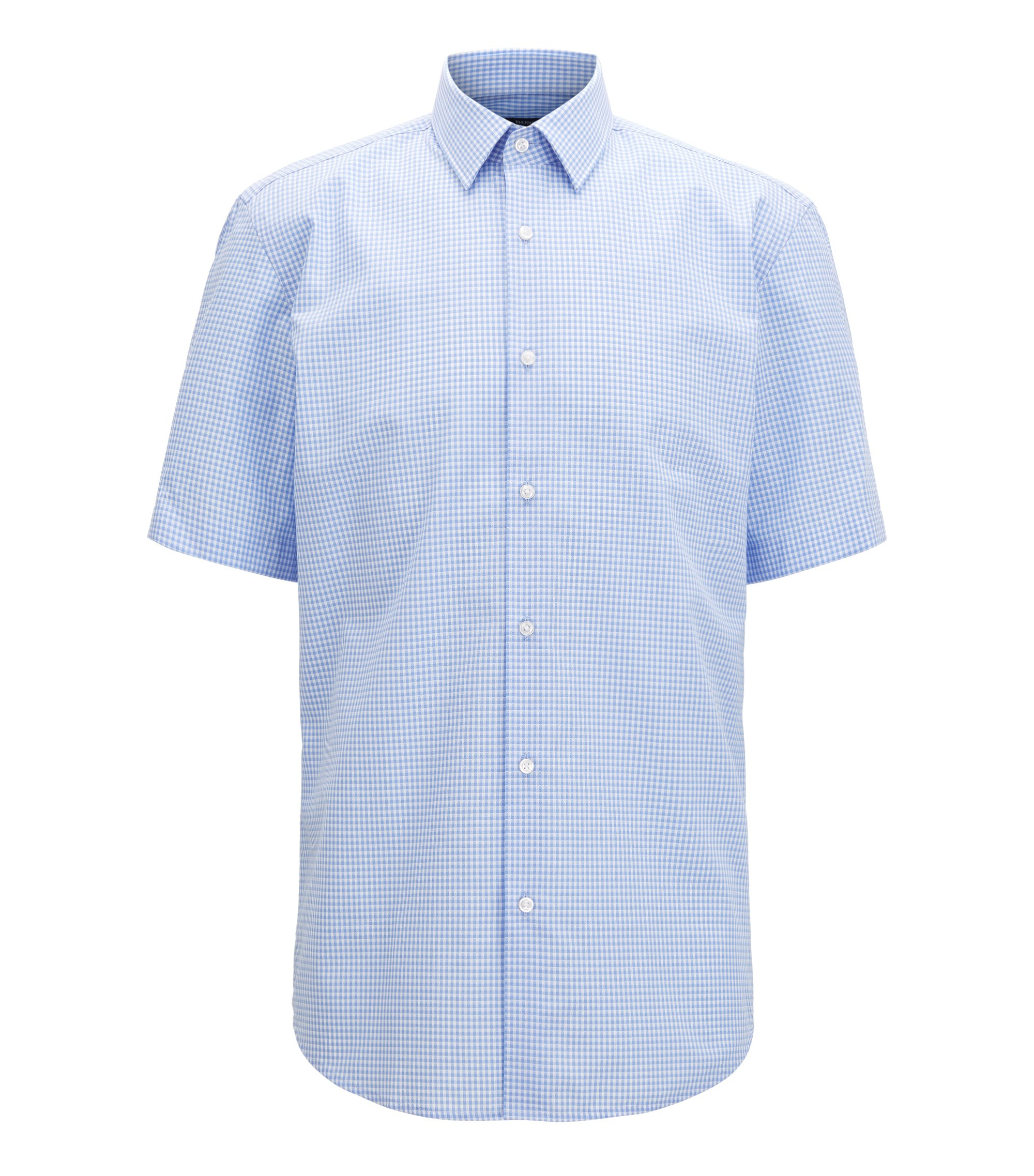 Short-sleeved cotton shirt in a regular fit, Light Blue