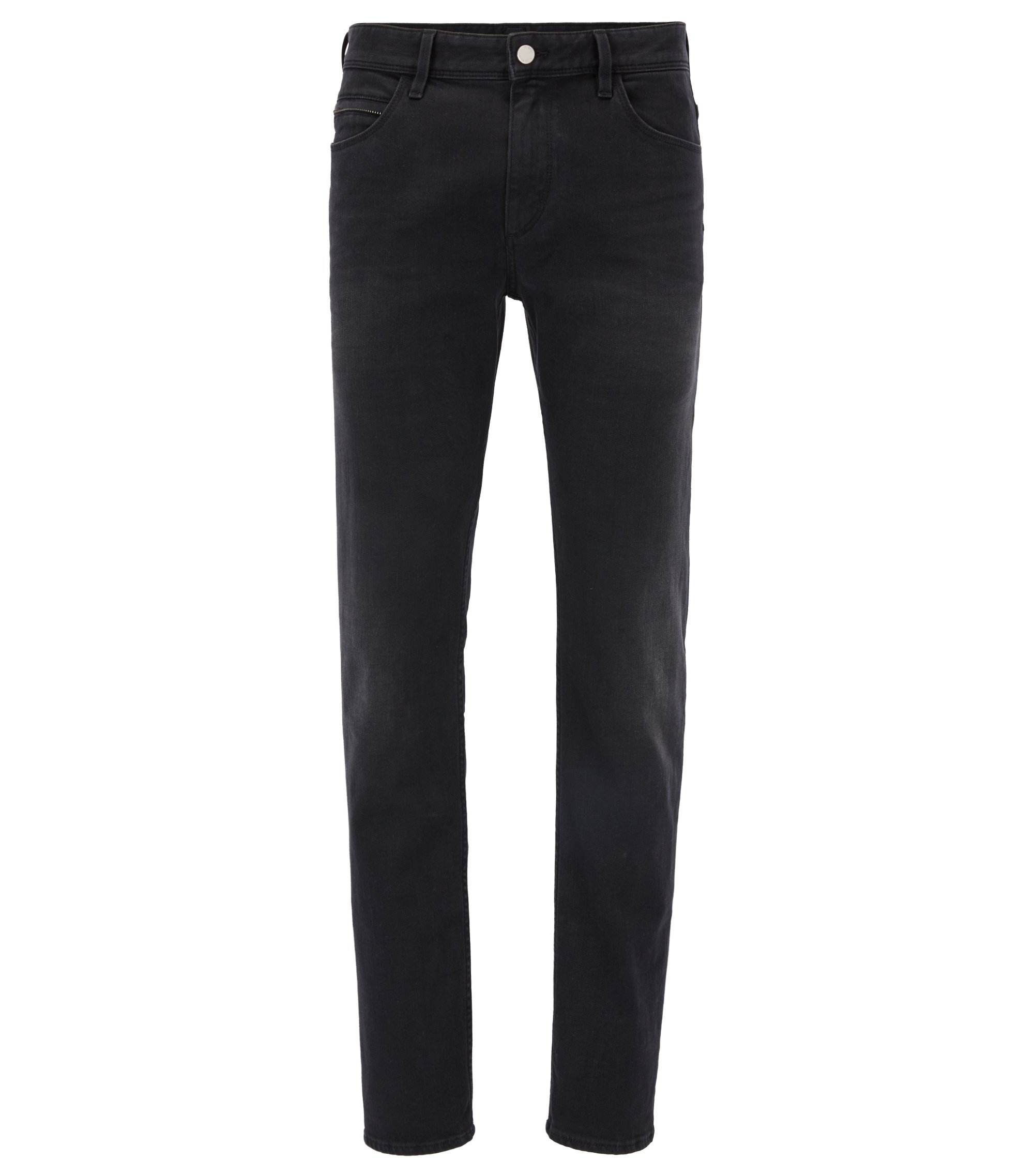Slim-fit jeans van zwart stretchdenim, Antraciet