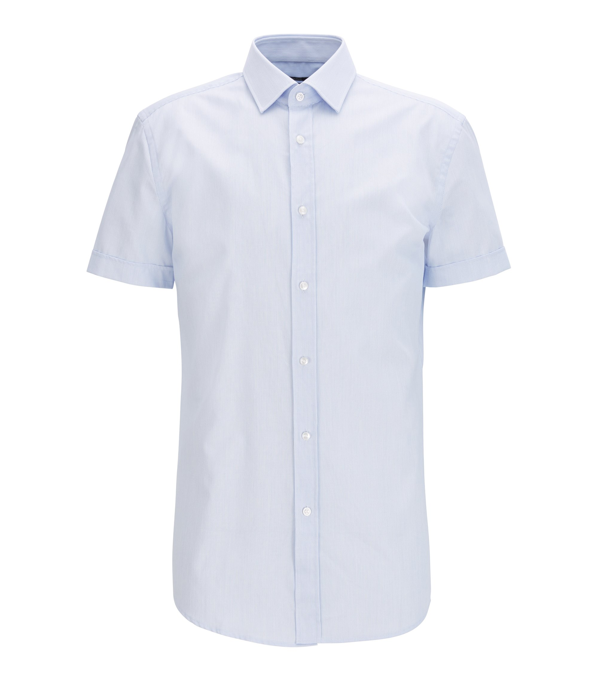 Slim-fit striped cotton shirt with short sleeves, Light Blue