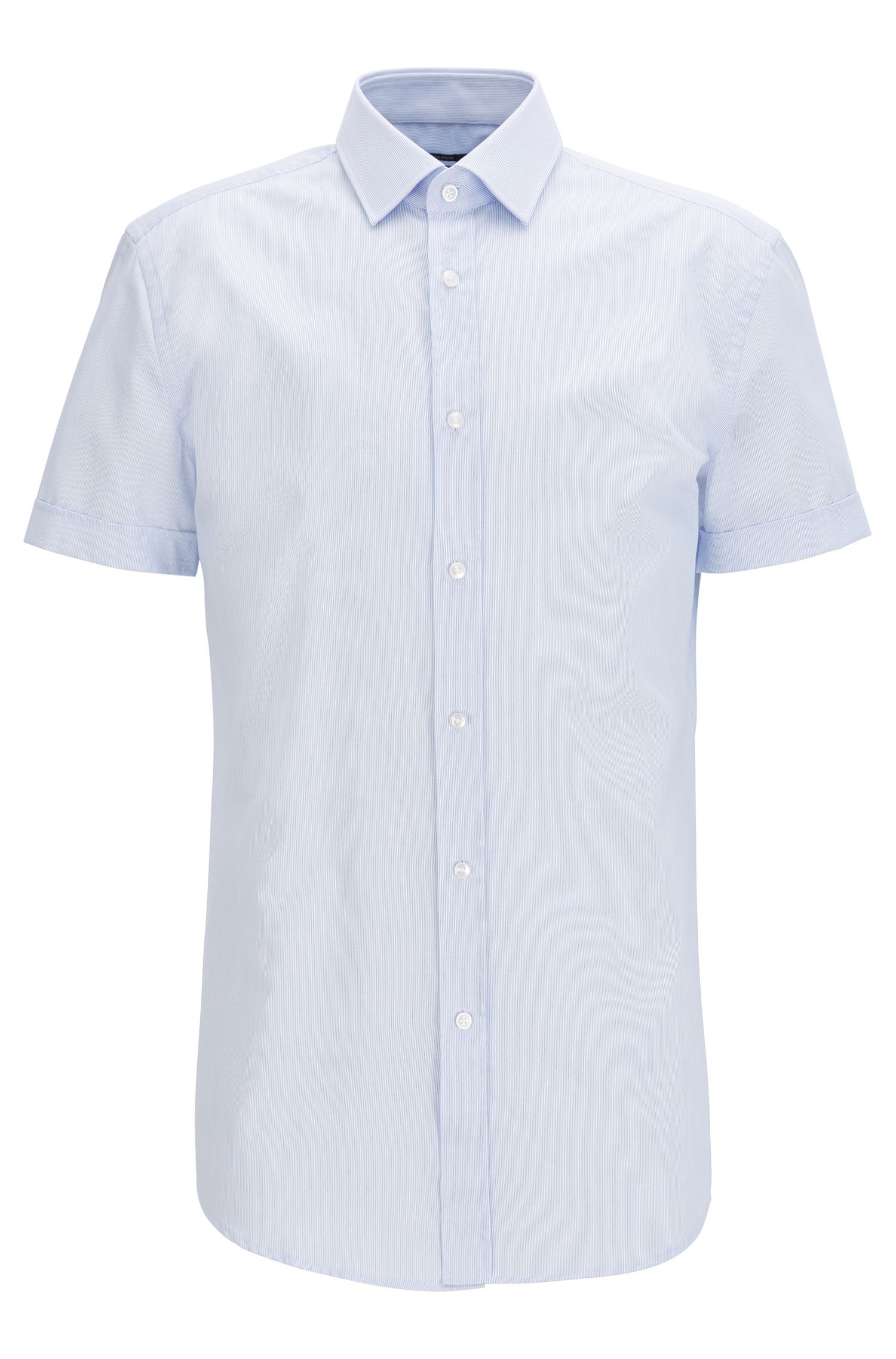 Slim-fit striped cotton shirt with short sleeves