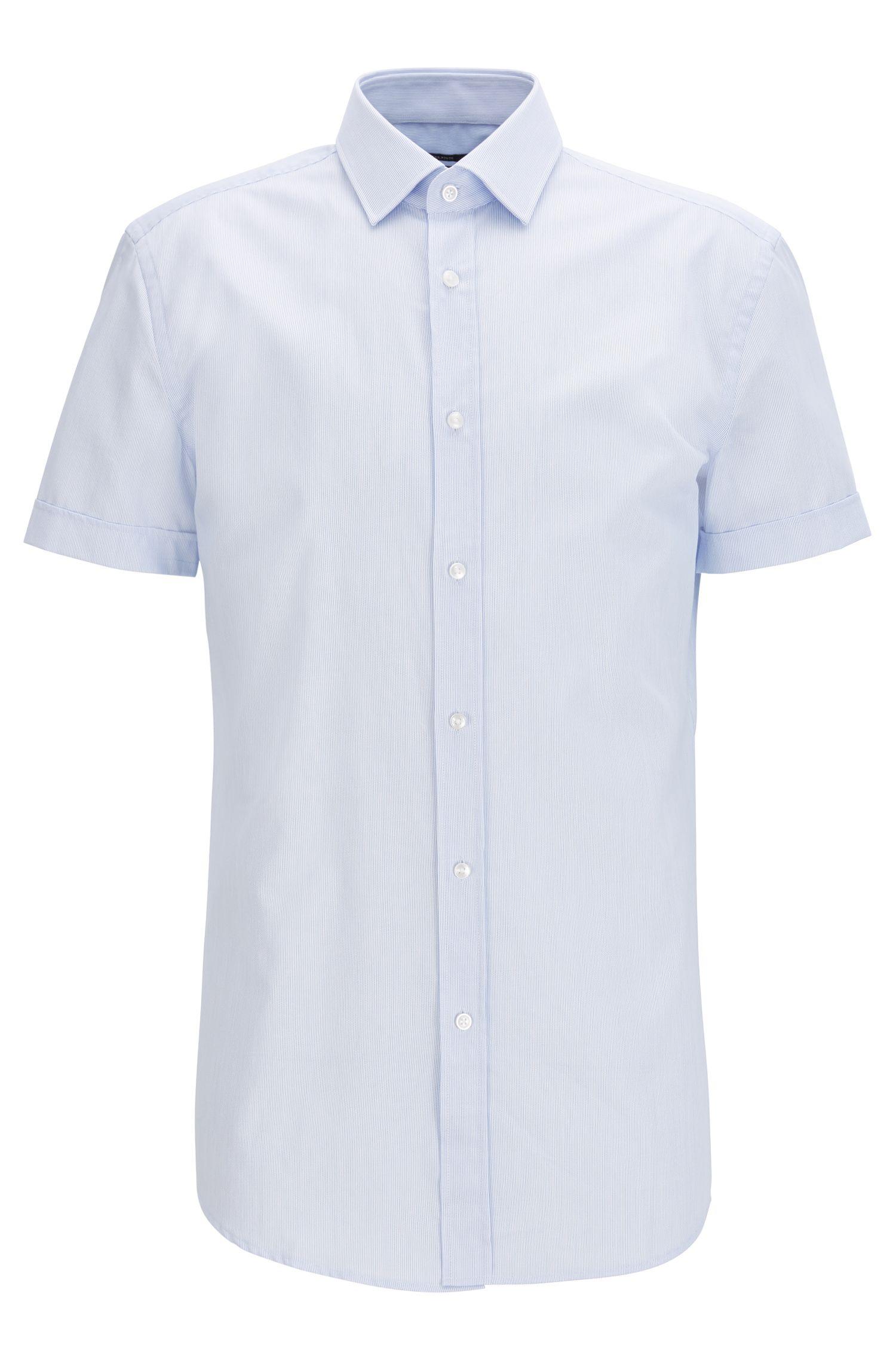 Slim-fit overhemd van gestreepte katoen met korte mouwen