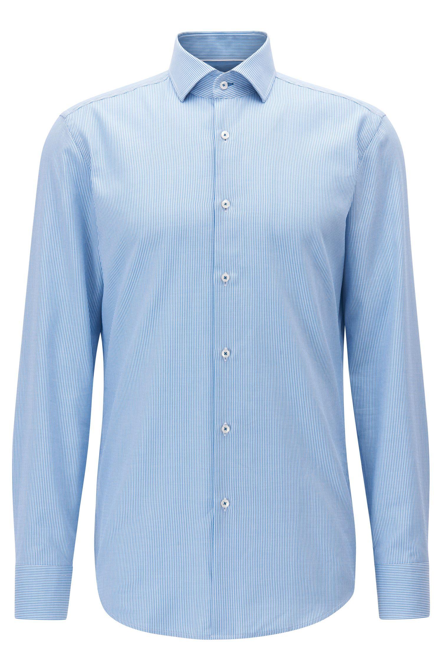 Camicia slim fit in piqué di cotone effetto maglia