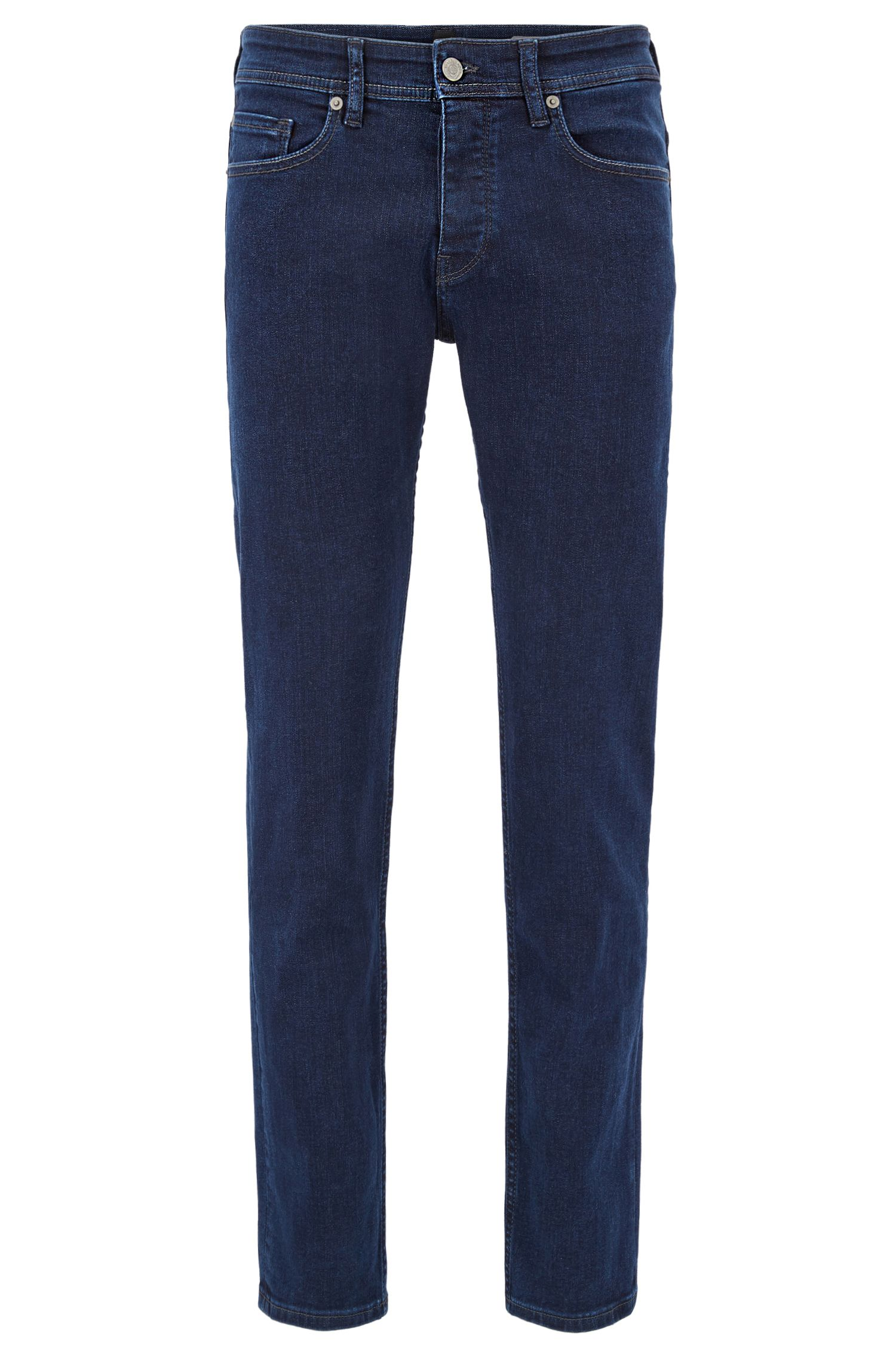 Tapered-fit jeans van super-stretchdenim in diep indigo met used-afwerking