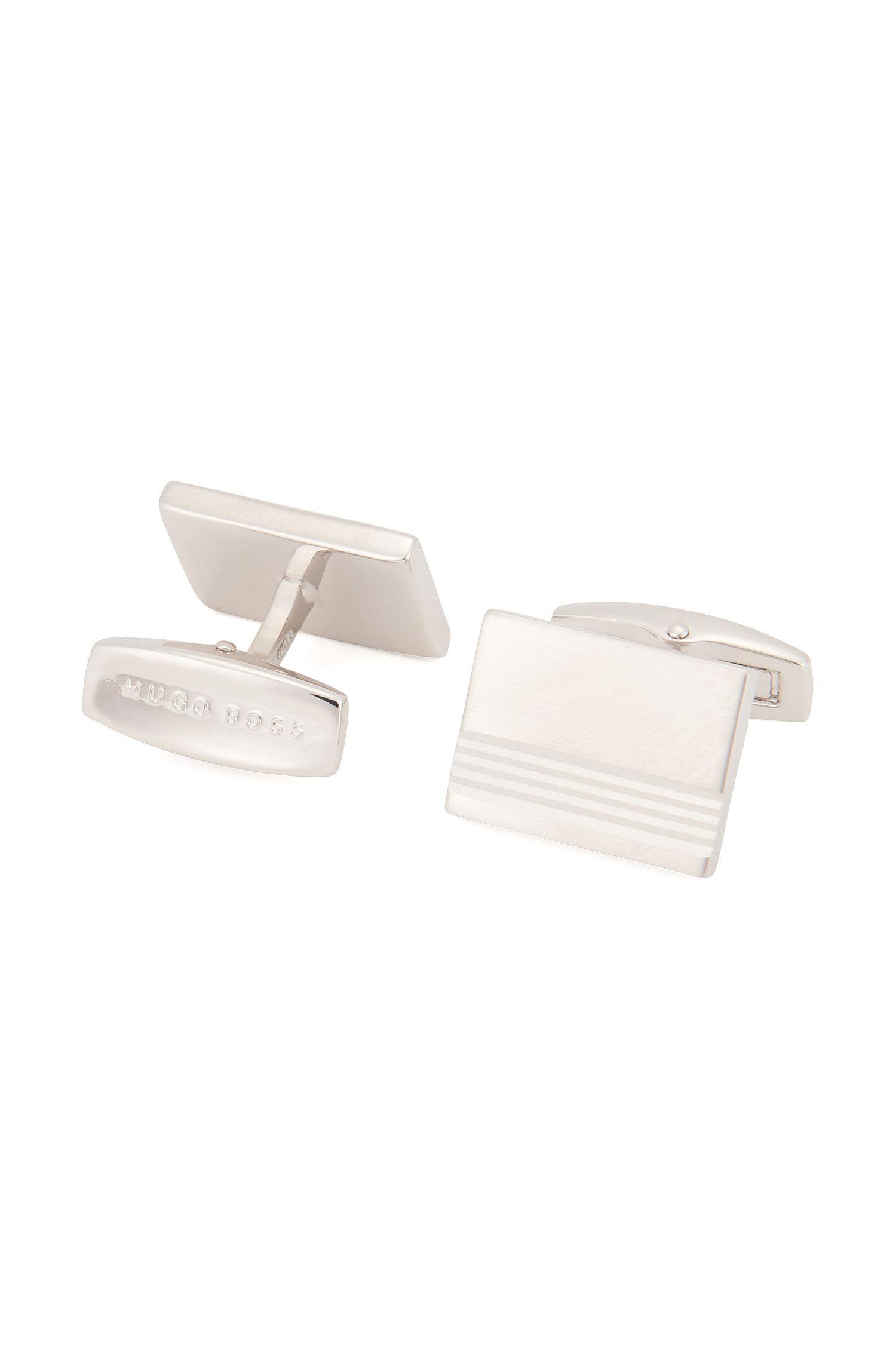 Boutons de manchette rectangulaires en métal brossé