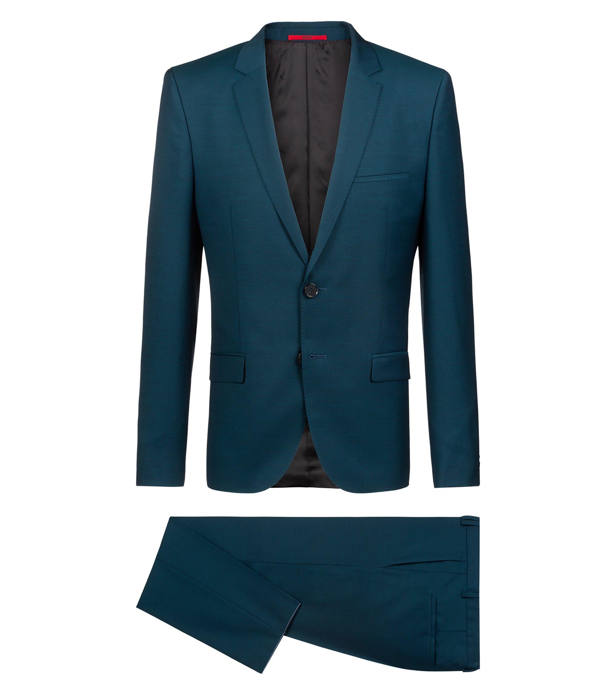 Extra slim-fit kostuum in een twill van gemêleerde scheerwol, Donkergroen
