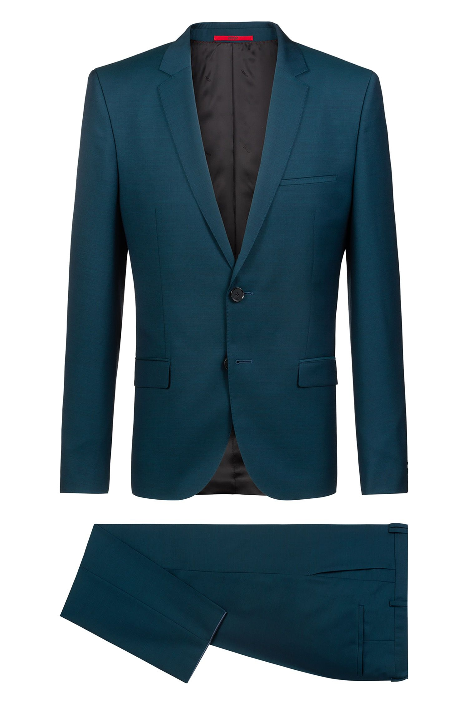 Abito extra slim fit in twill di lana vergine mélange, Verde scuro