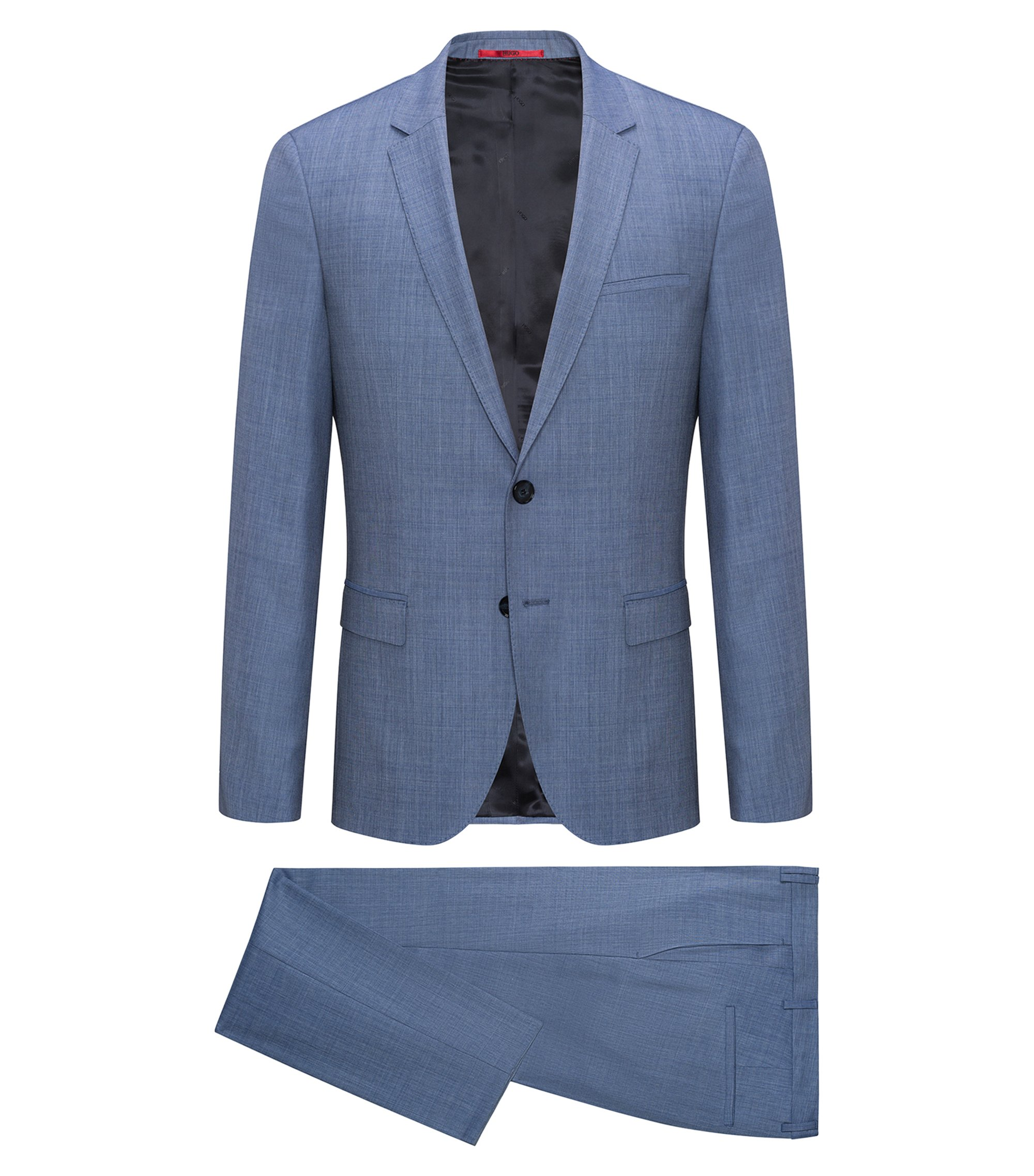 Extra-slim-fit suit in melange virgin wool twill, Turquoise