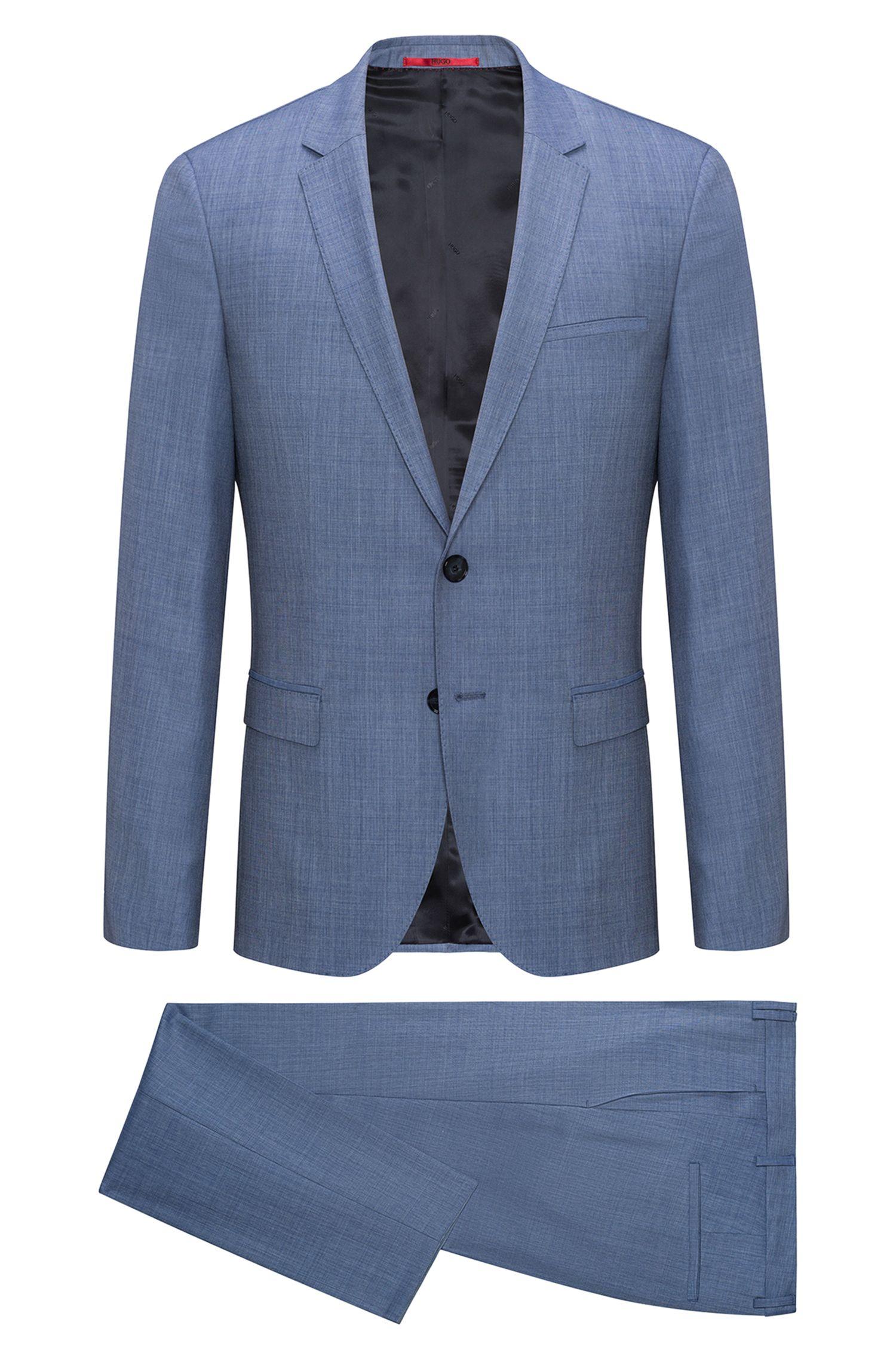 Extra-slim-fit suit in melange virgin wool twill