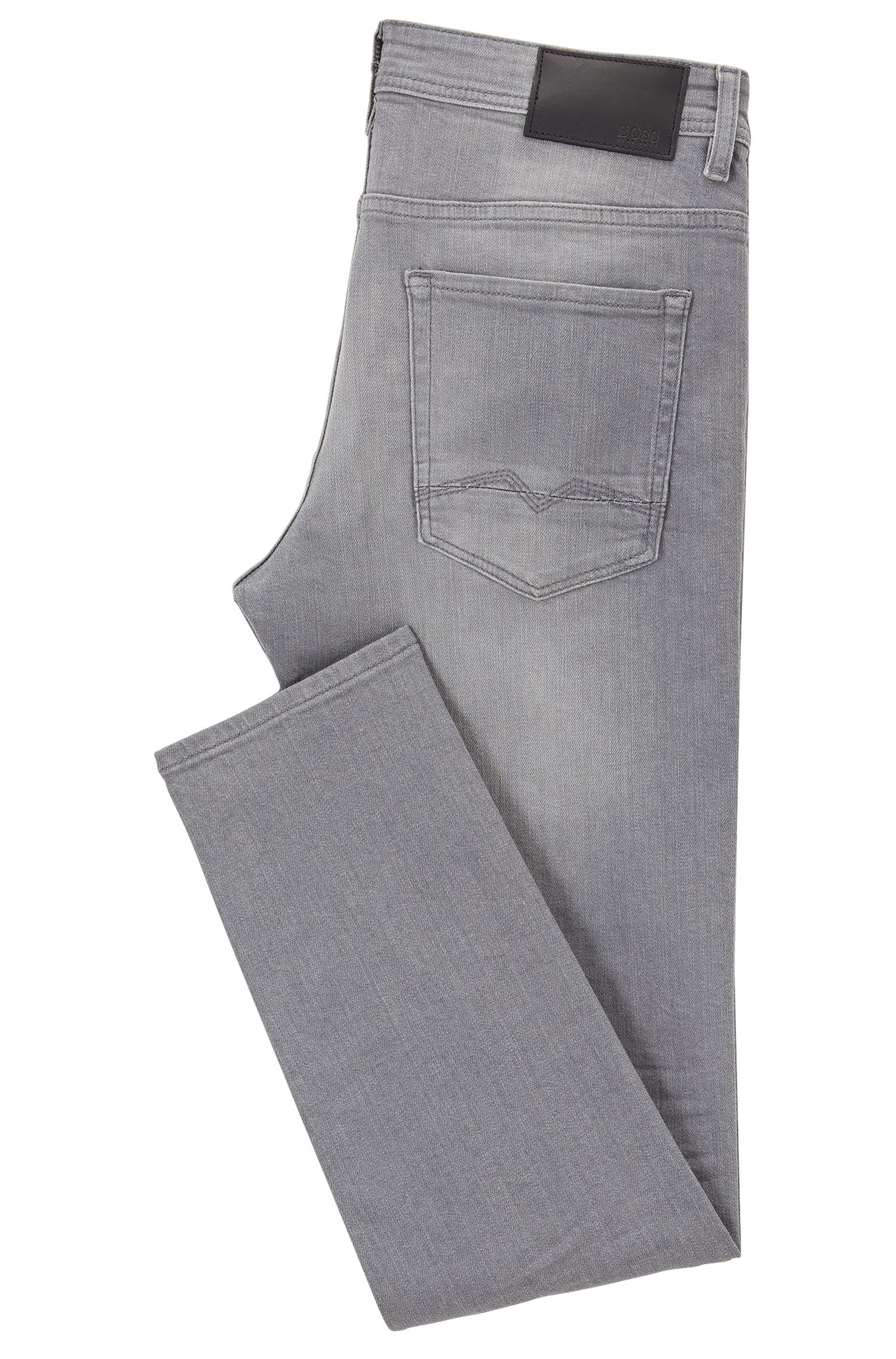 Jean Tapered Fit en denim stretch confortable gris à effets usés