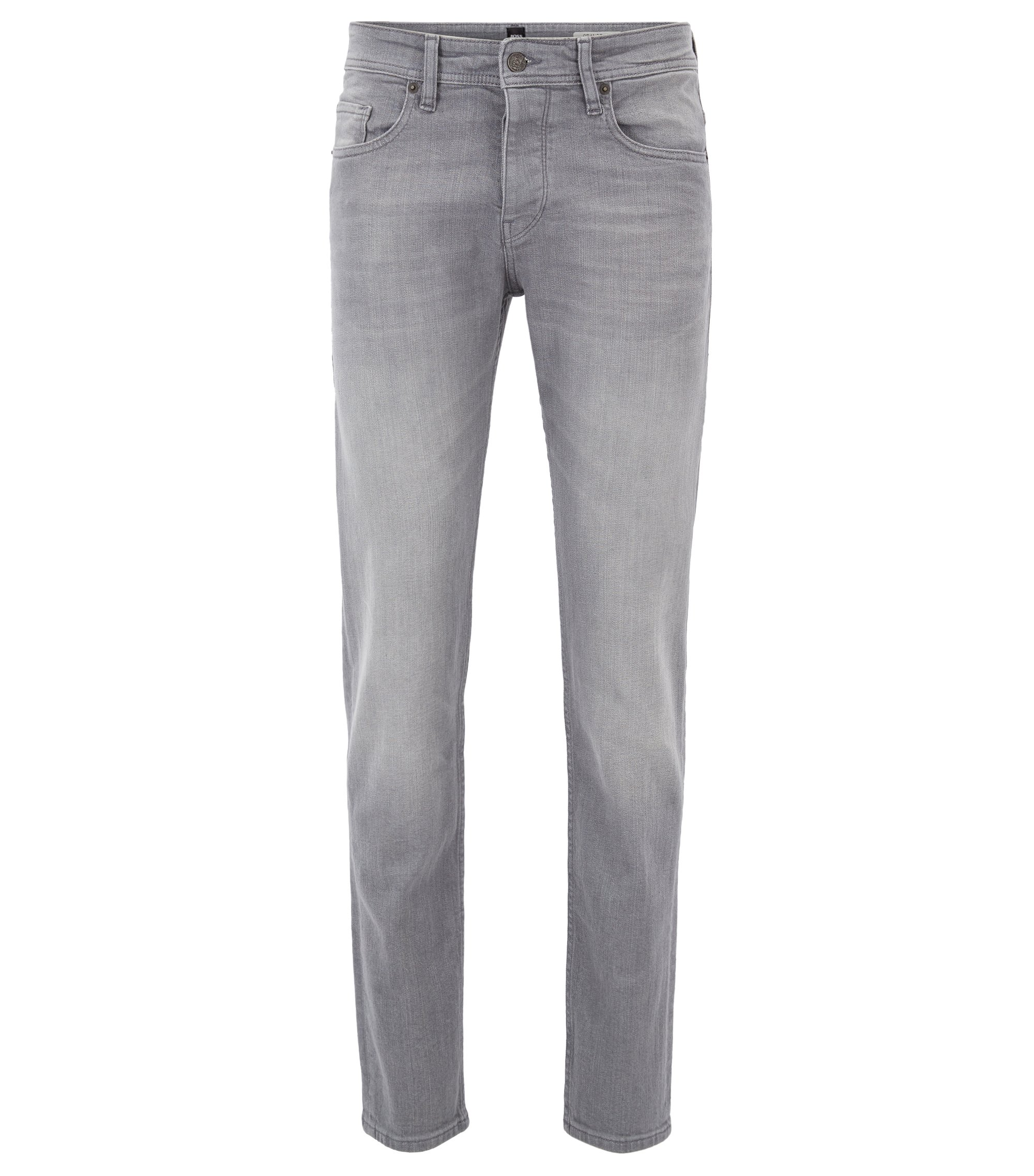 Tapered-Fit Jeans aus komfortablem Stretch-Denim mit Used-Effekten, Grau