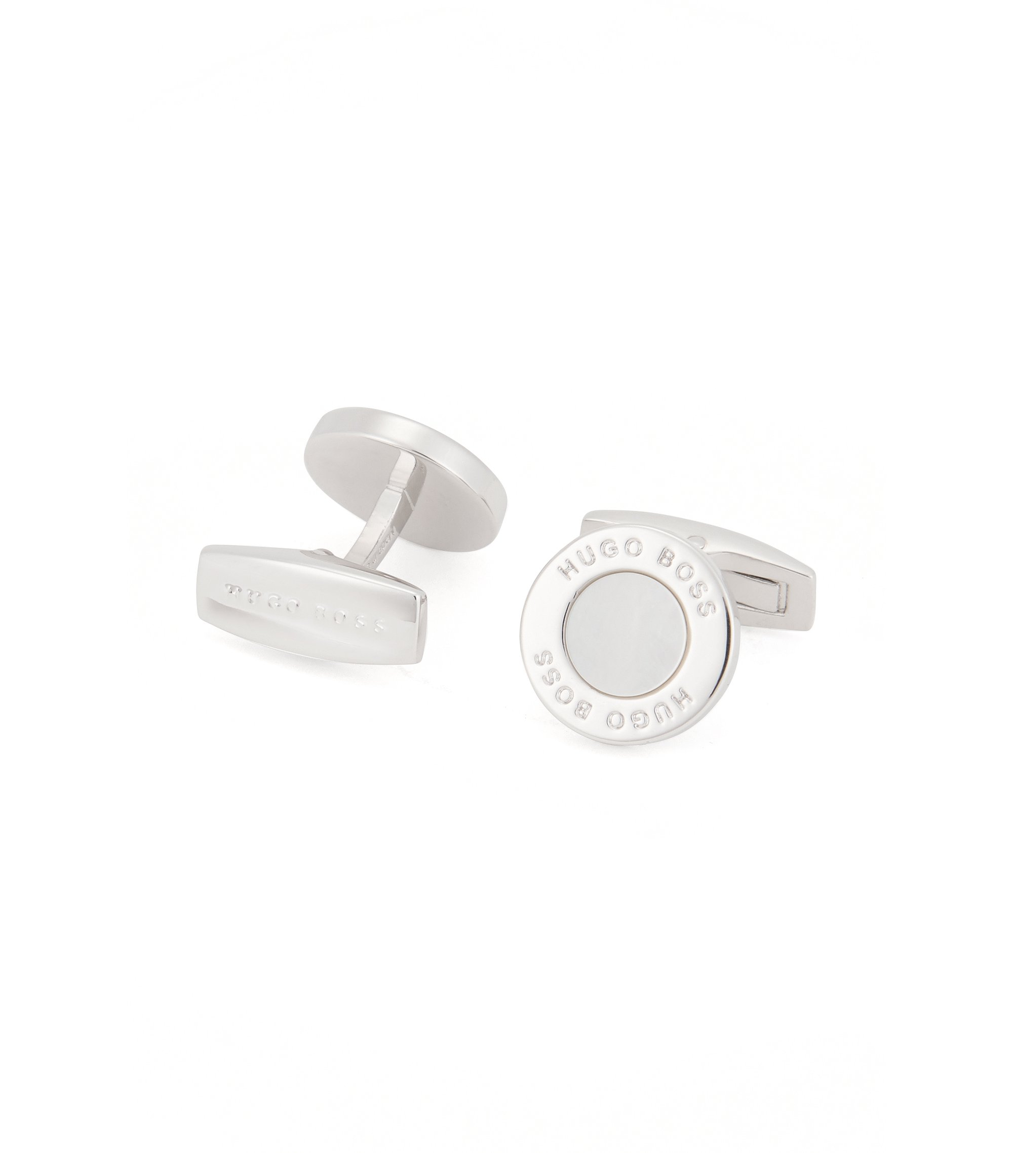 Round cufflinks with mother-of-pearl core, White
