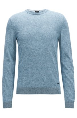 Crew-neck sweater in mouliné Egyptian cotton, Light Blue