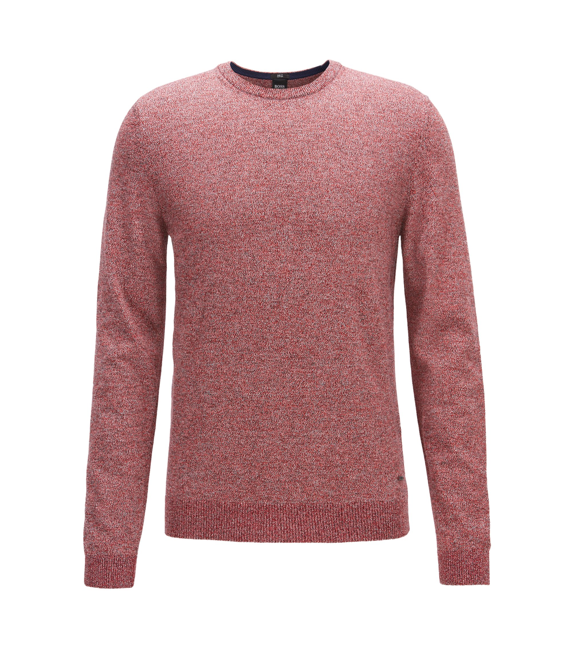 Crew-neck sweater in mouliné Egyptian cotton, Dark Orange