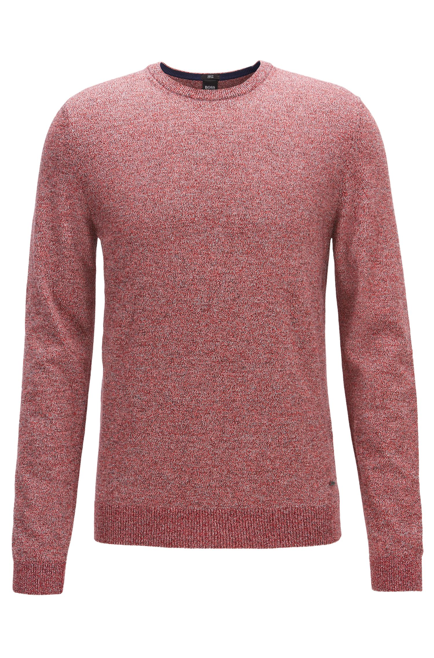 Crew-neck sweater in mouliné Egyptian cotton