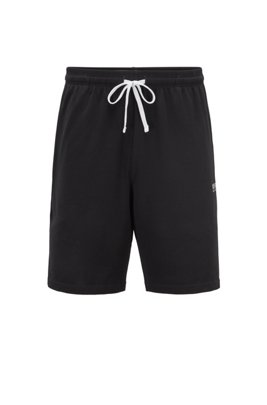 Loungewear shorts in stretch cotton jersey with drawstring waist, Black