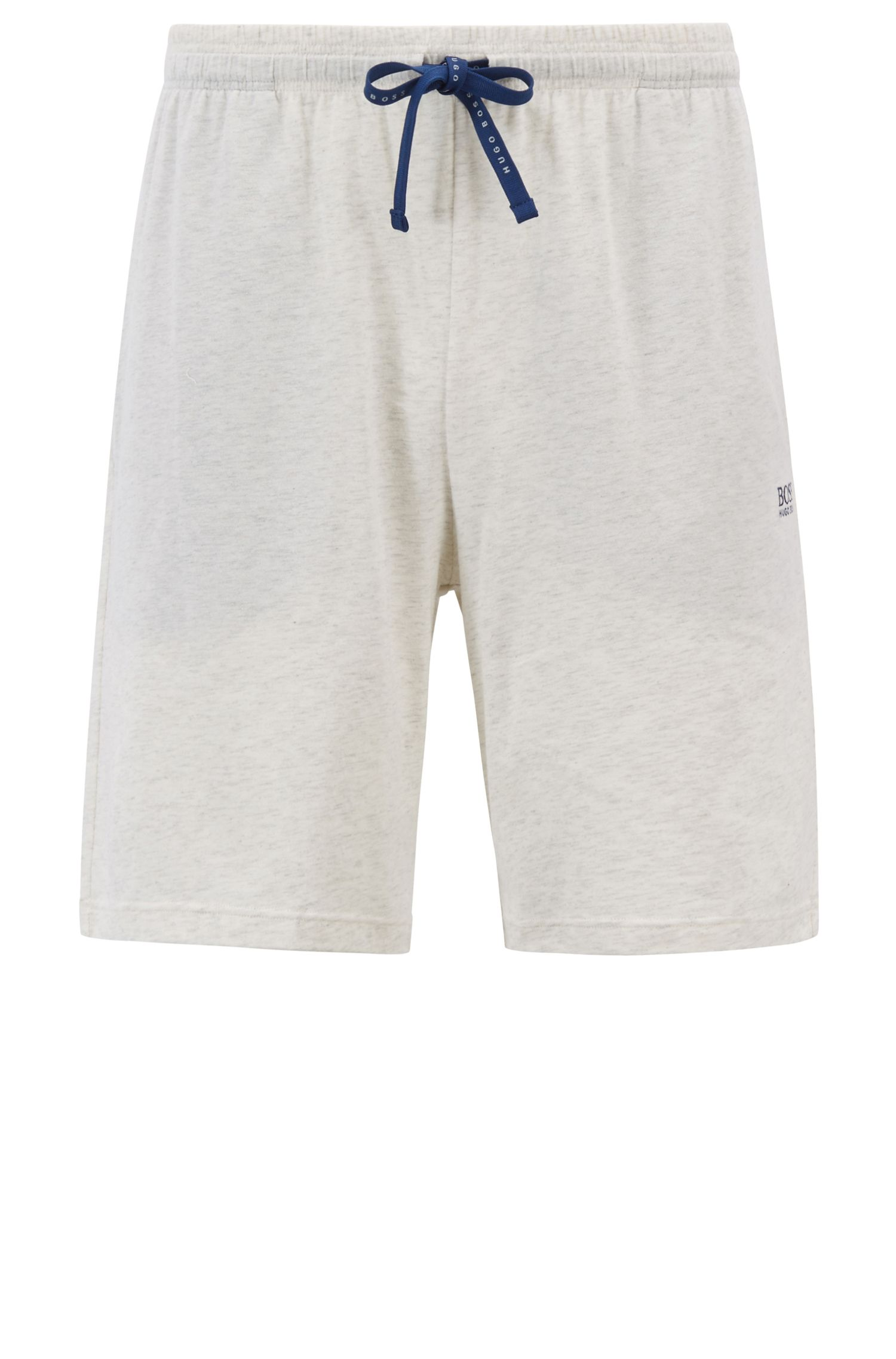 Loungewear shorts in stretch cotton jersey with drawstring waist, Grey