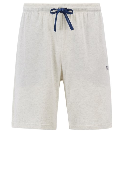 Hugo Boss - Shorts loungewear en punto de algodón elástico con cordón en la cintura - 1