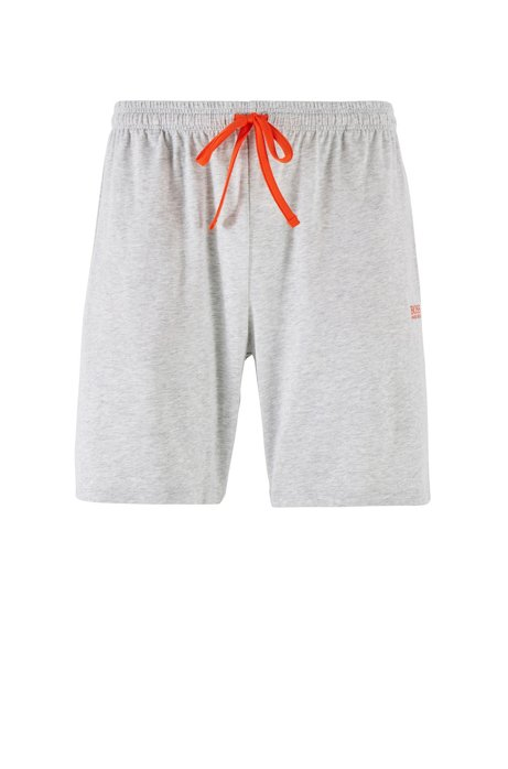 Loungewear shorts in stretch cotton jersey with drawstring waist, Light Grey