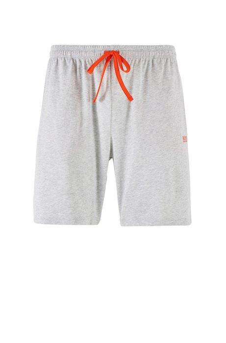 Short d'intérieur en jersey de coton stretch doté d'une taille avec cordon de serrage, Gris chiné