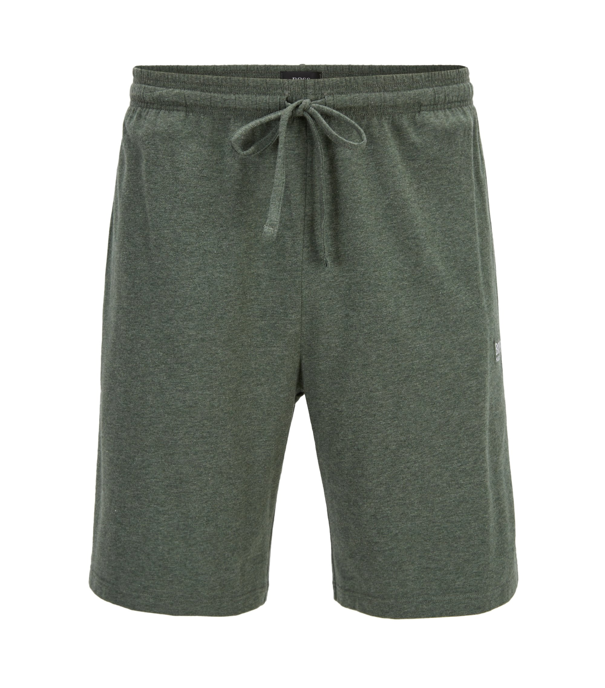 Loungewear shorts in stretch cotton jersey with drawstring waist, Dark Green