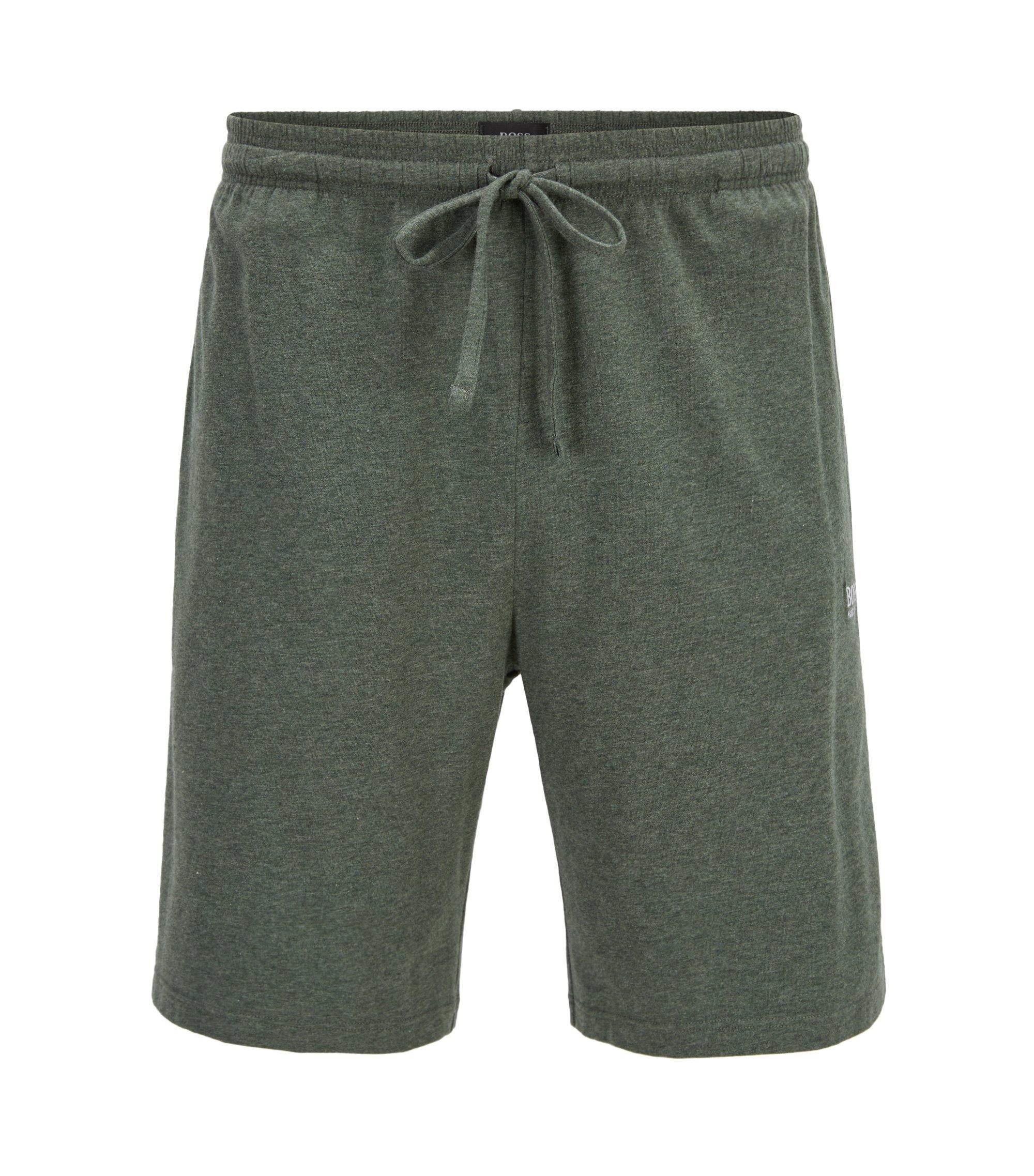 Short d'intérieur en jersey de coton stretch doté d'une taille avec cordon de serrage, Vert sombre